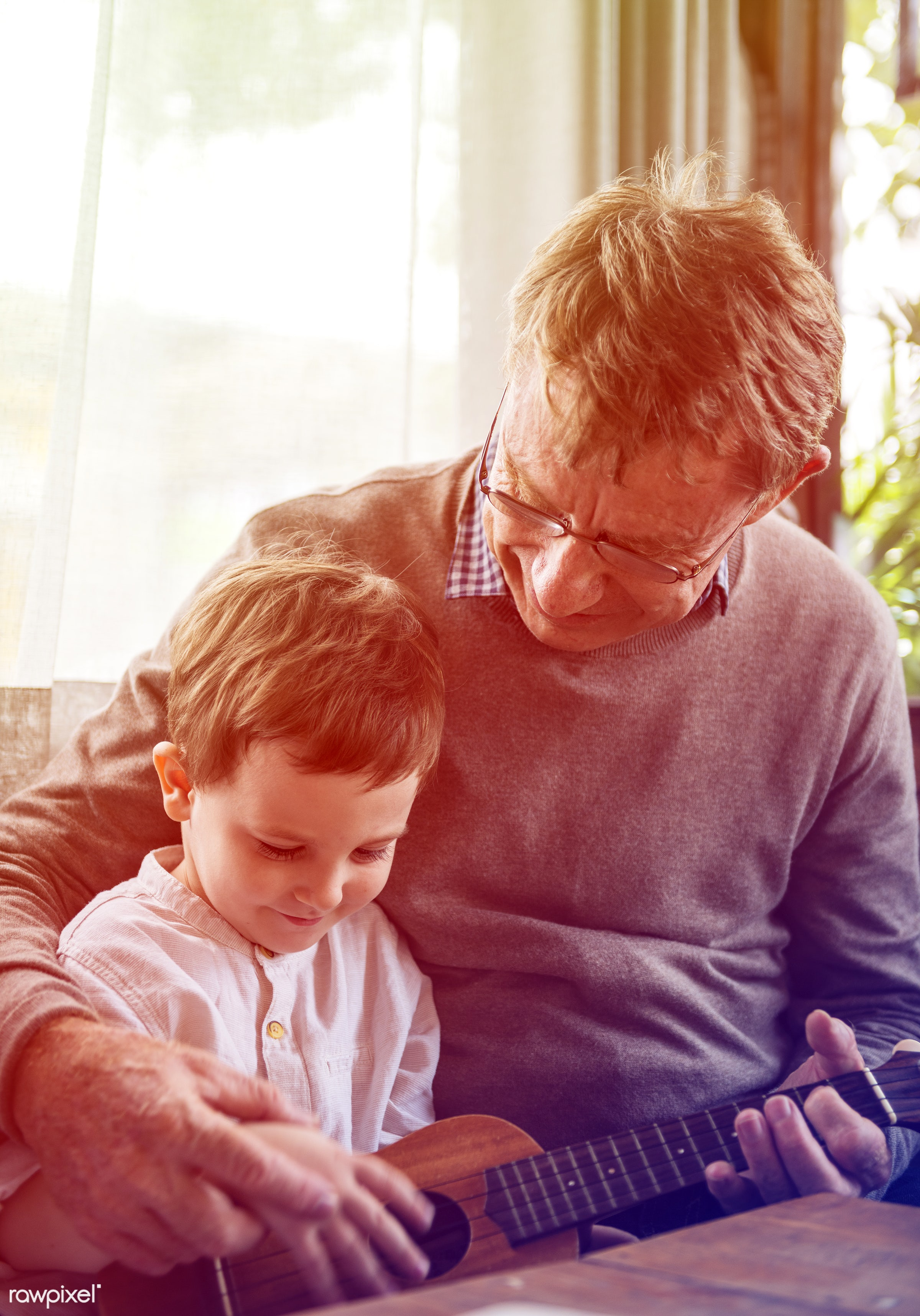 song, grandfather, recreation, together, kid, caucasian, grandchild, playing, love, child, retirement, lomo, happy, family,...