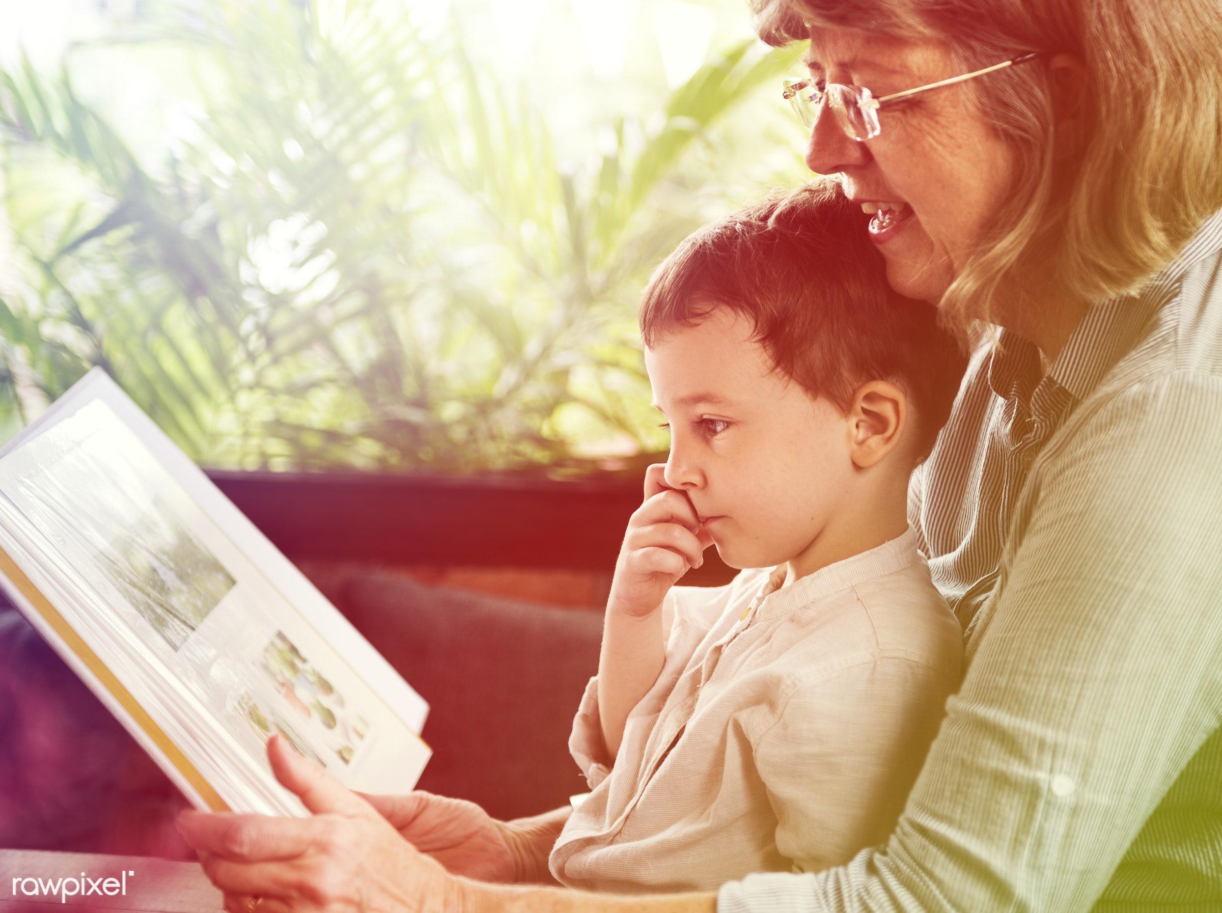 reading, recreation, together, kid, caucasian, love, child, grandchild, retirement, lomo, happy, family, grandchildren,...