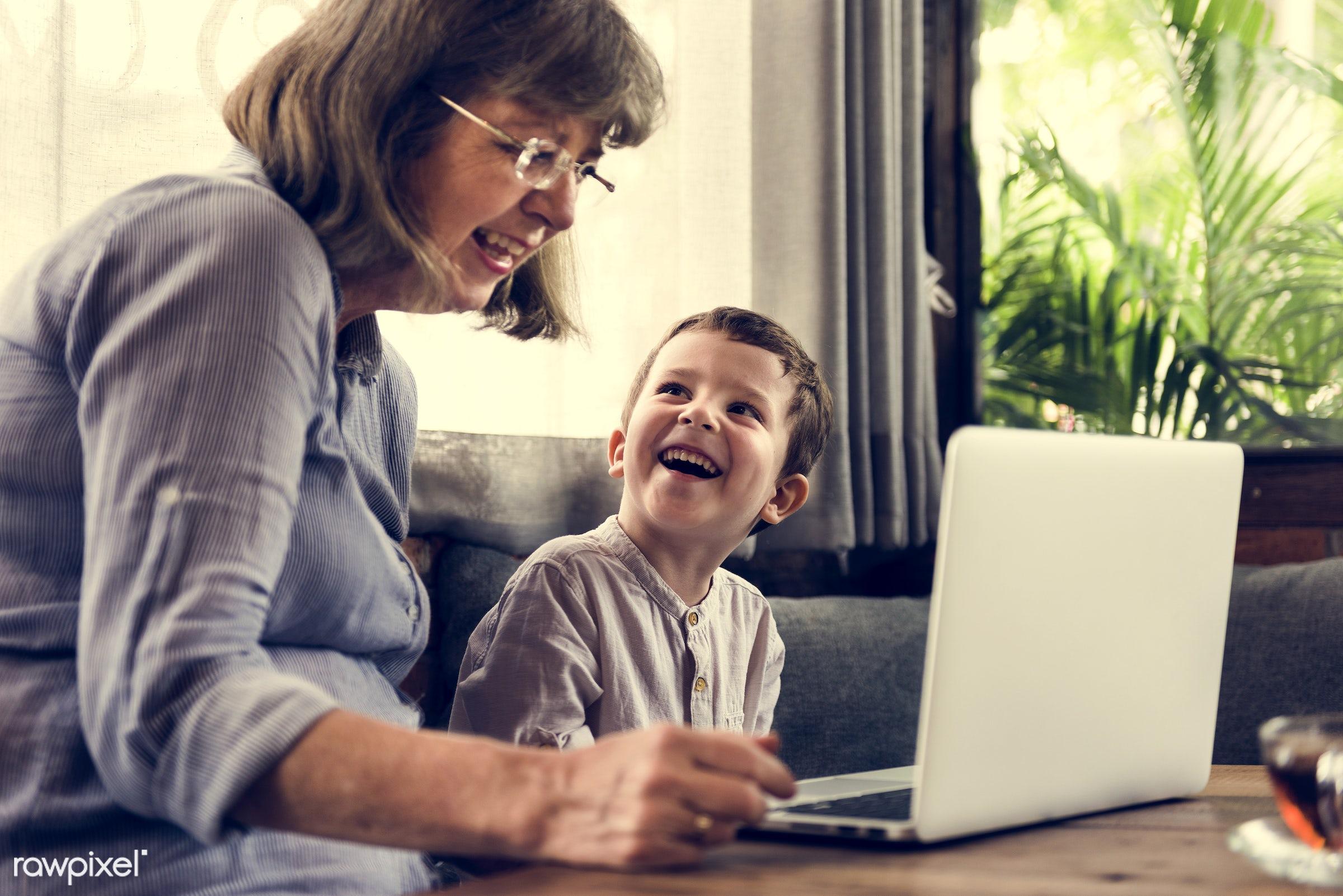 technology, recreation, digital, together, caucasian, kid, child, love, grandchild, retirement, happy, family, grandchildren...