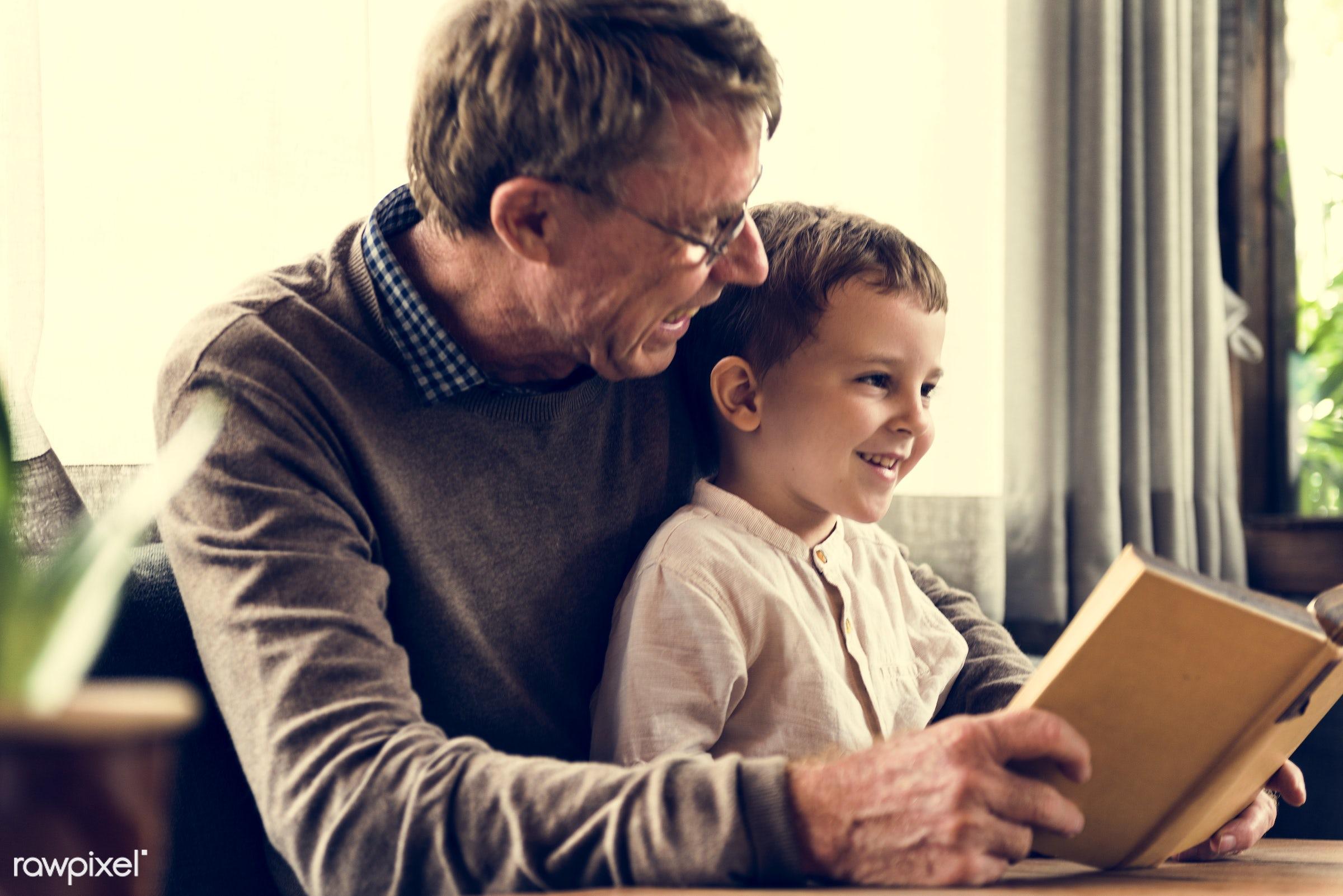 reading, grandfather, recreation, together, caucasian, kid, child, love, grandchild, retirement, happy, family,...