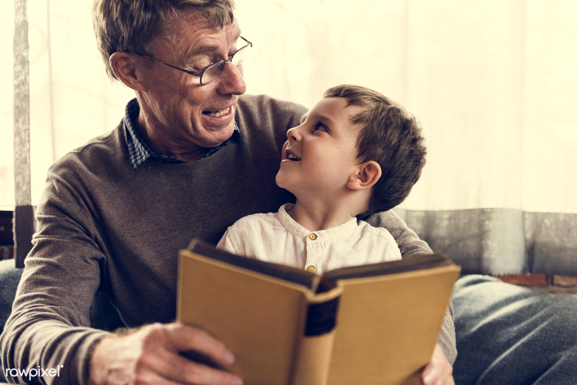 reading, grandfather, recreation, together, kid, caucasian, child, love, grandchild, retirement, family, happy,...