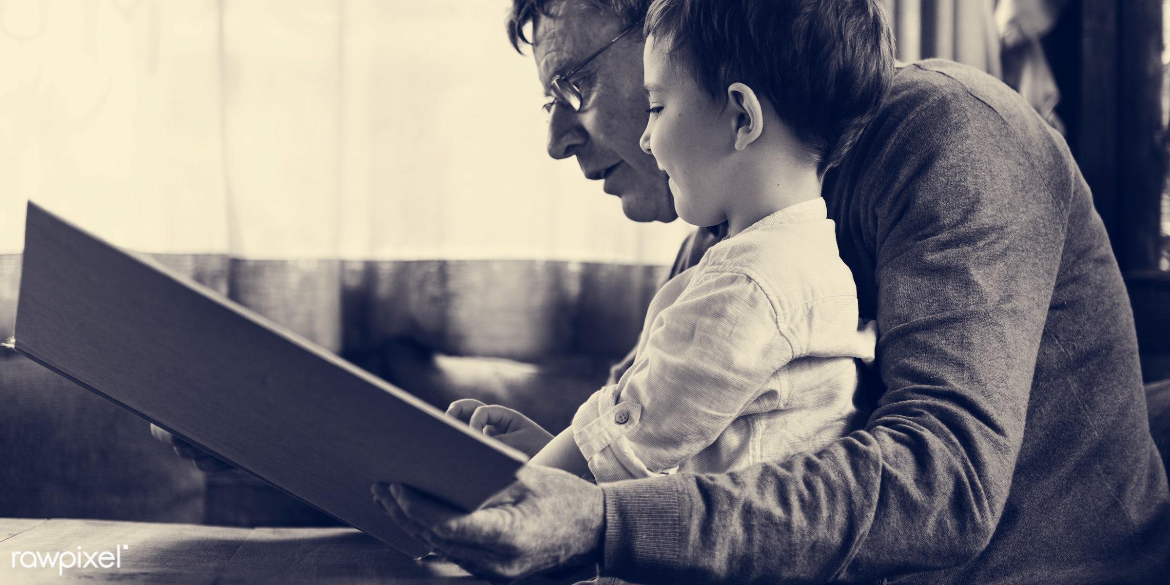 reading, grandfather, recreation, together, kid, caucasian, grandchild, love, child, retirement, family, happy,...