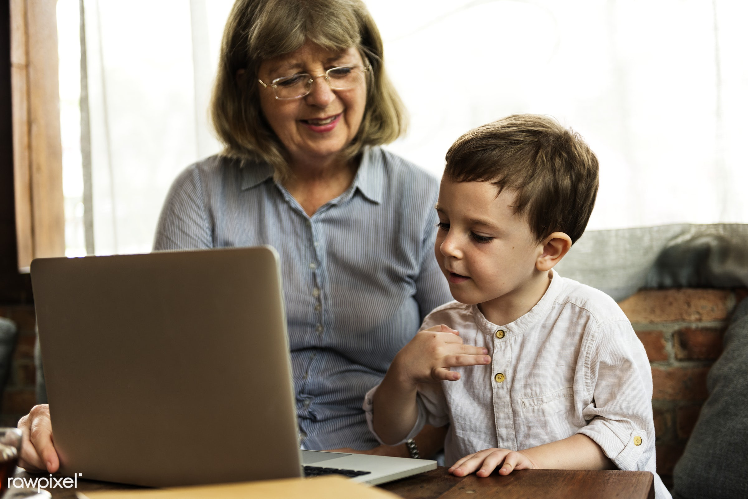 technology, recreation, digital, together, caucasian, kid, child, love, grandchild, retirement, happy, family, grandchildren...