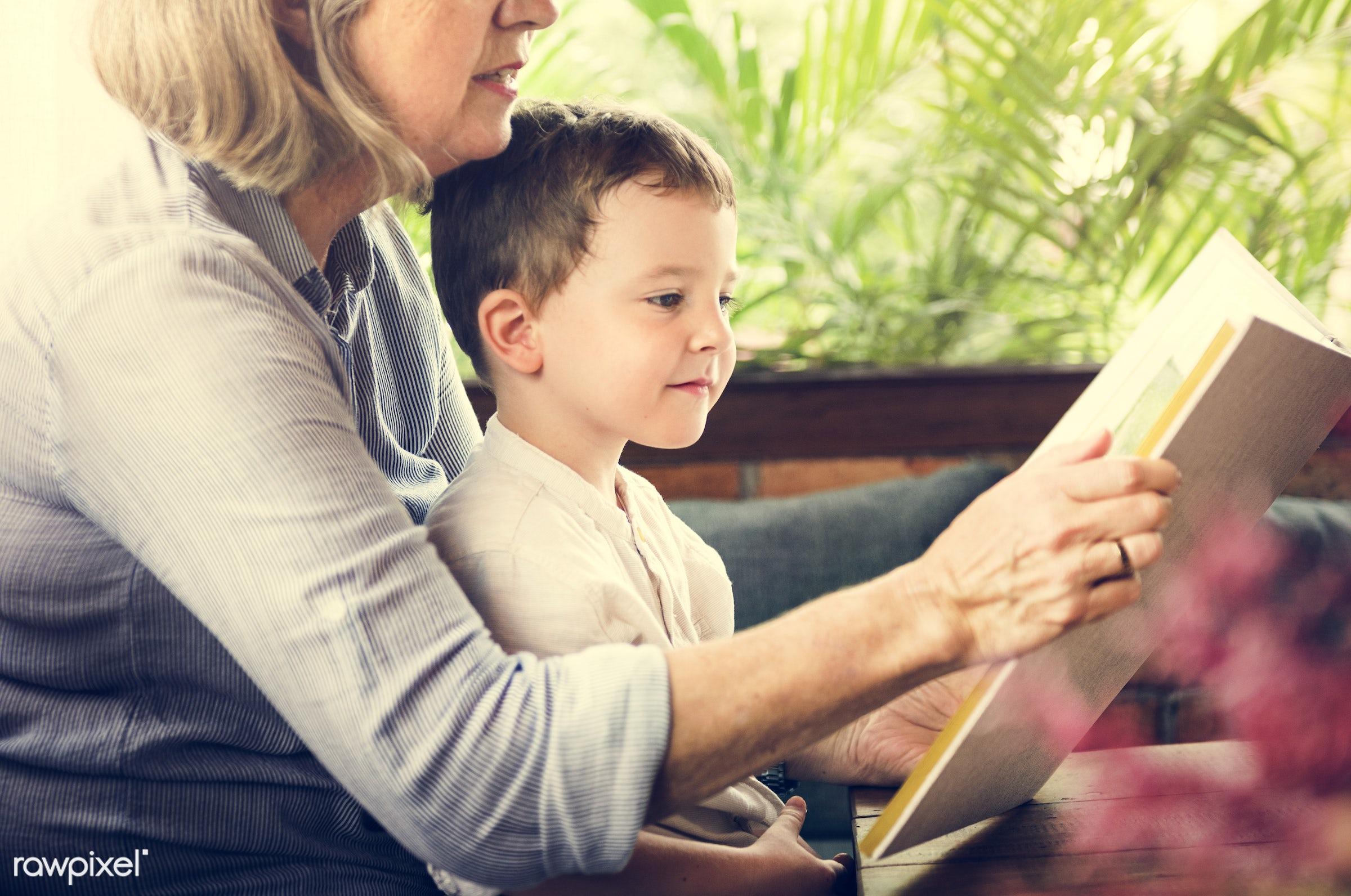 reading, recreation, together, kid, caucasian, grandchild, love, child, retirement, family, happy, grandchildren, childhood...