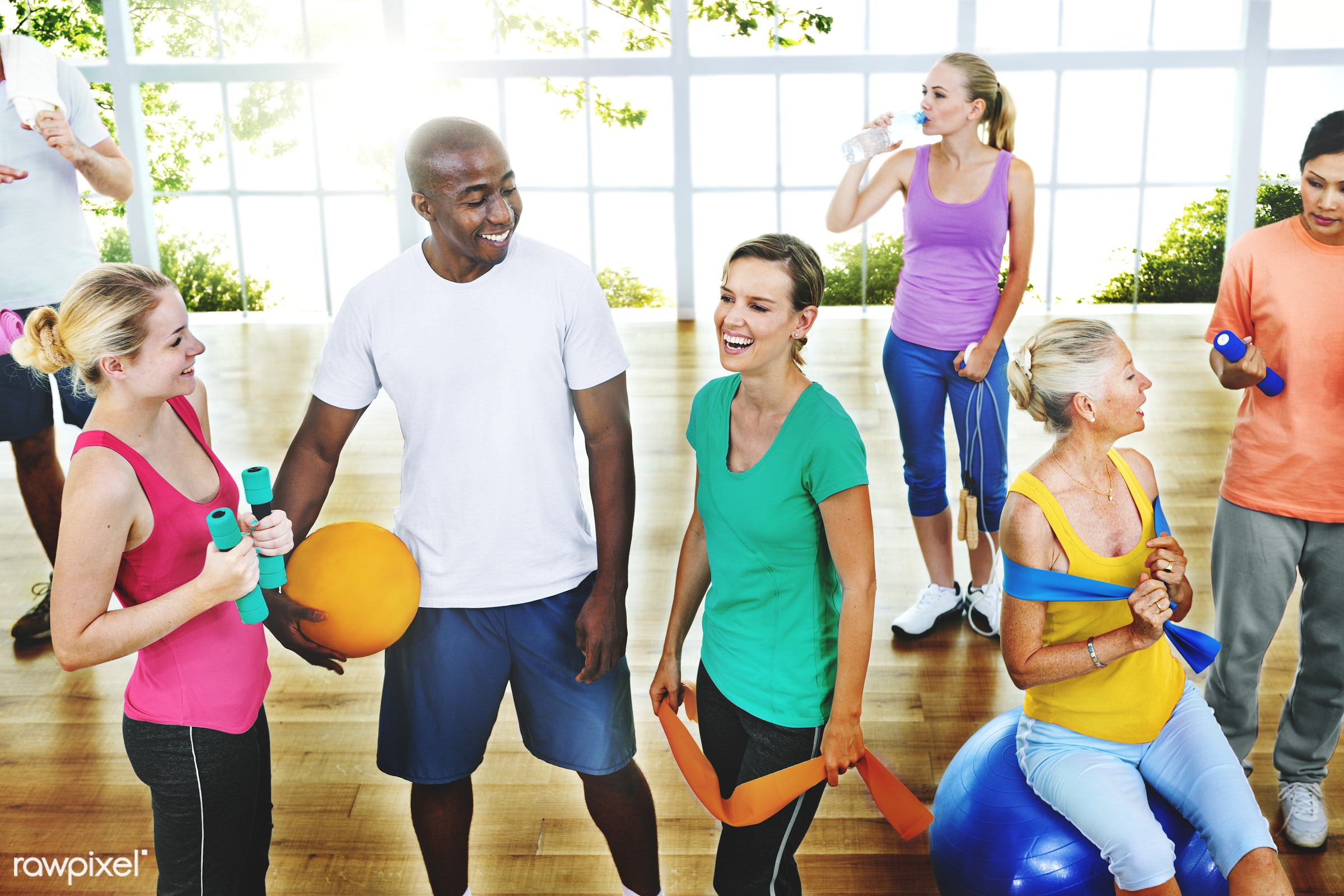 lifestyles, activity, african descent, asian ethnicity, cheerful, communication, diverse, diversity, dumbbell, equipment,...