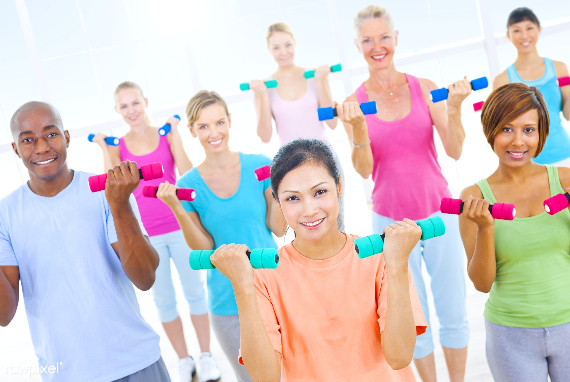 active, activity, adults only, aerobics, african, asian ethnicity, athlete, balance, cheerful, core, dumbbell, enjoyment,...