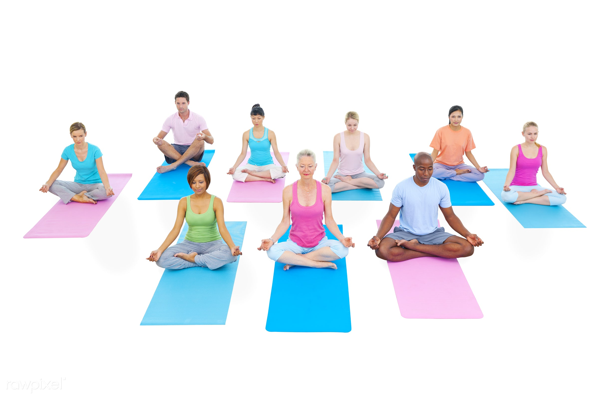 caucasian, lifestyles, action, adult, african descent, asian ethnicity, balance, body care, cheerful, exercise mat,...