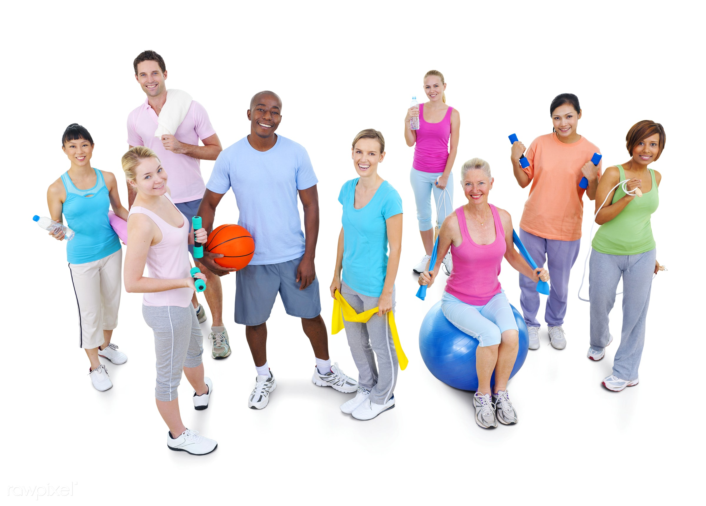 Diverse group of adults exercising  - activity, adult, african descent, asian ethnicity, balance, basketball, body care,...