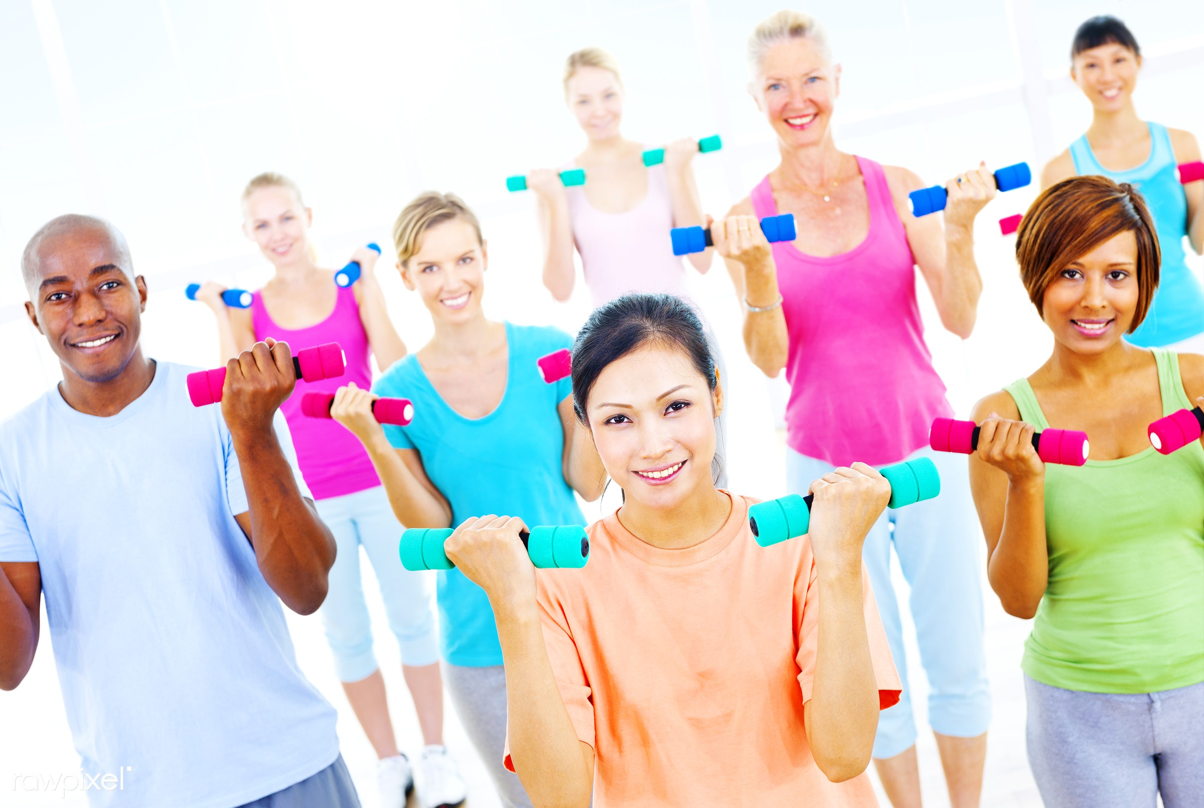 lifestyles, activity, african descent, asian ethnicity, cheerful, diverse, diversity, dumbbell, equipment, exercise,...