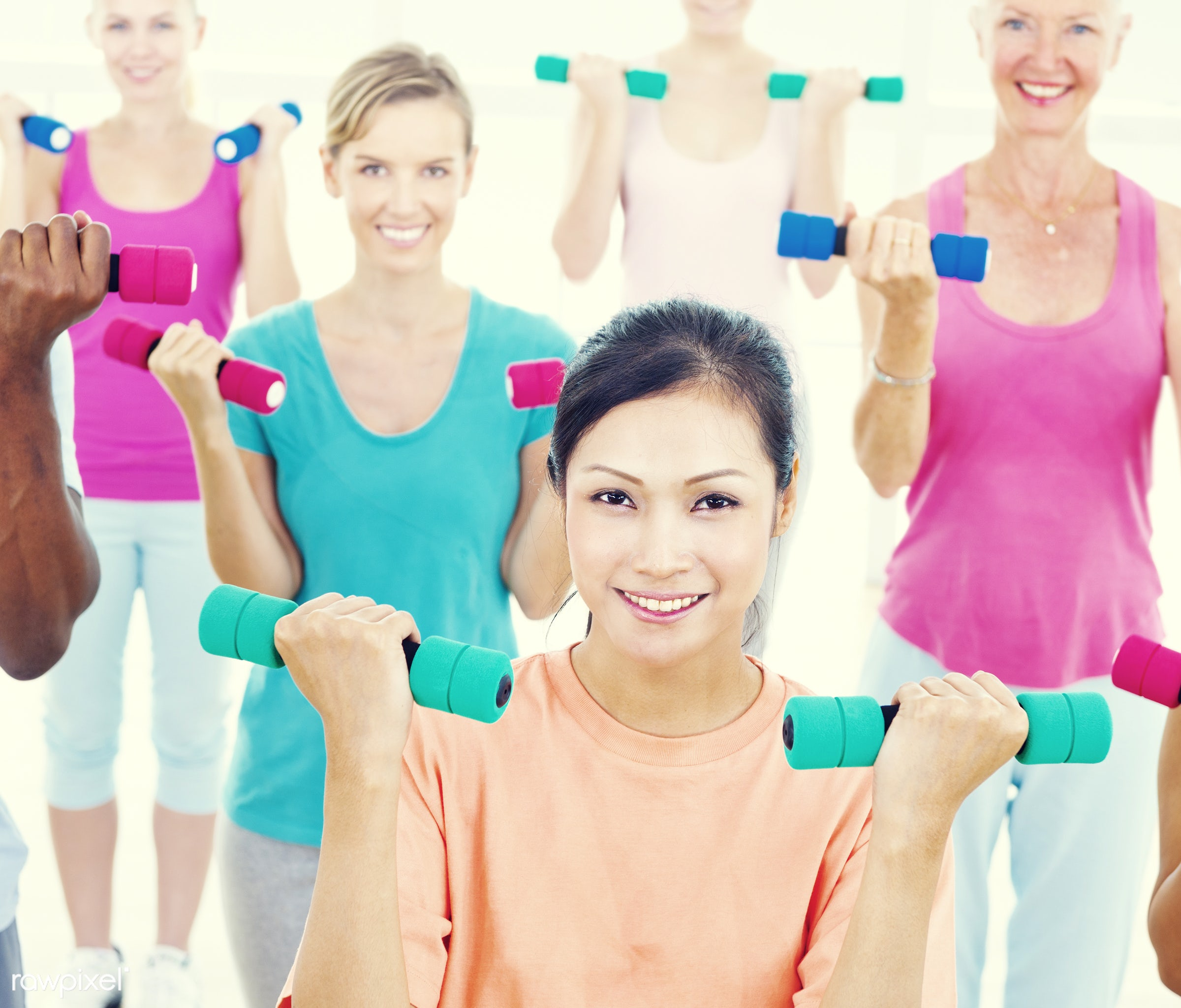 Hand Weight, holding, activity, adults only, aerobics, asian ethnicity, athlete, balance, cheerful, dumbbell, enjoyment,...