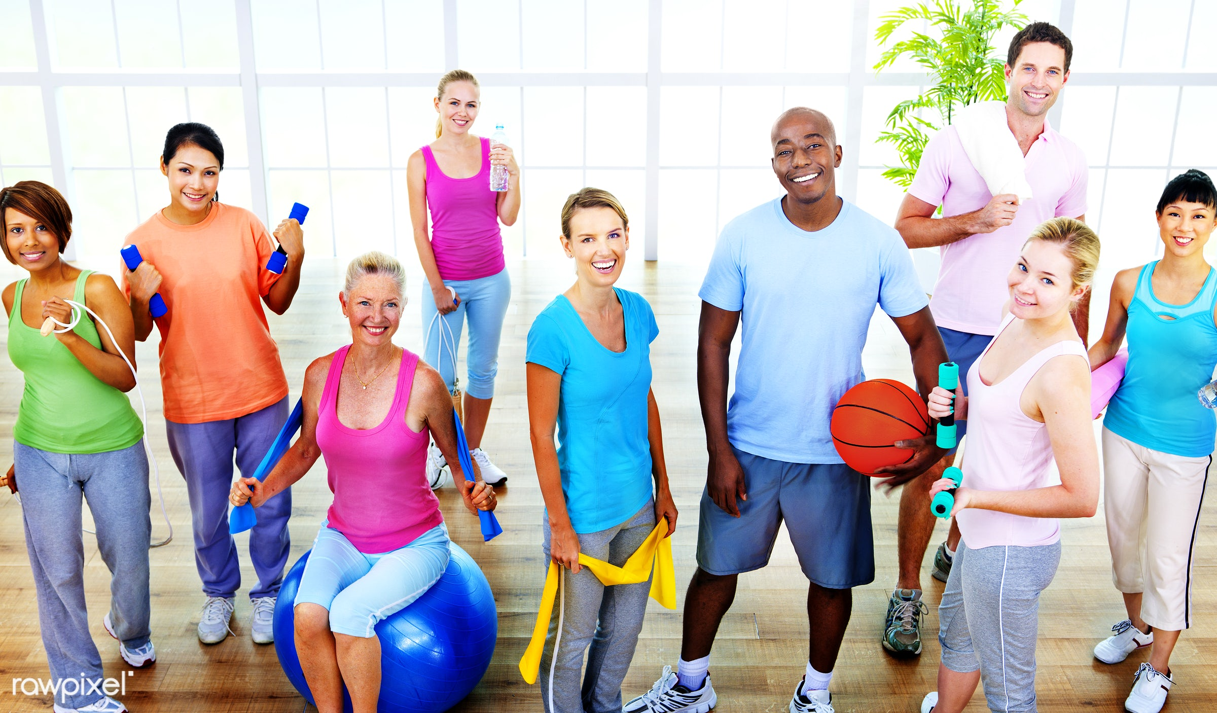 lifestyles, activity, african descent, asian ethnicity, cheerful, diverse, diversity, dumbbell, equipment, exercising, fit,...