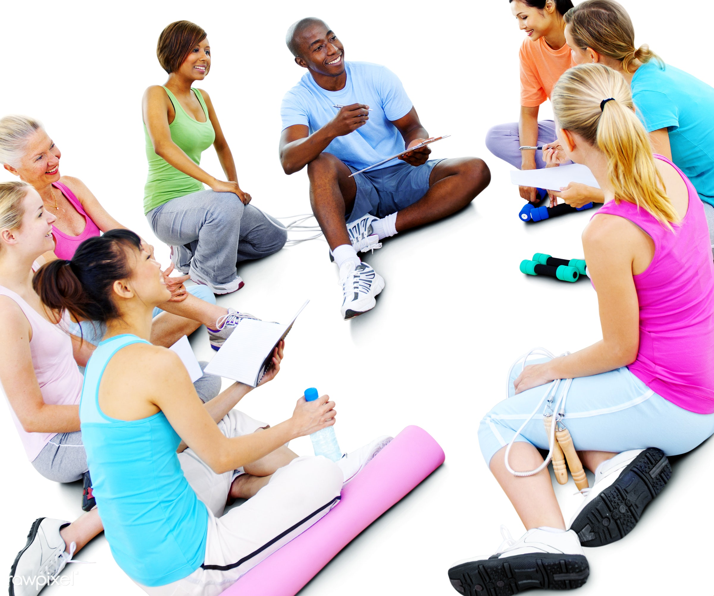 activity, african descent, asian ethnicity, cheerful, classroom, communication, community, discussion, dumbbell, exercise,...