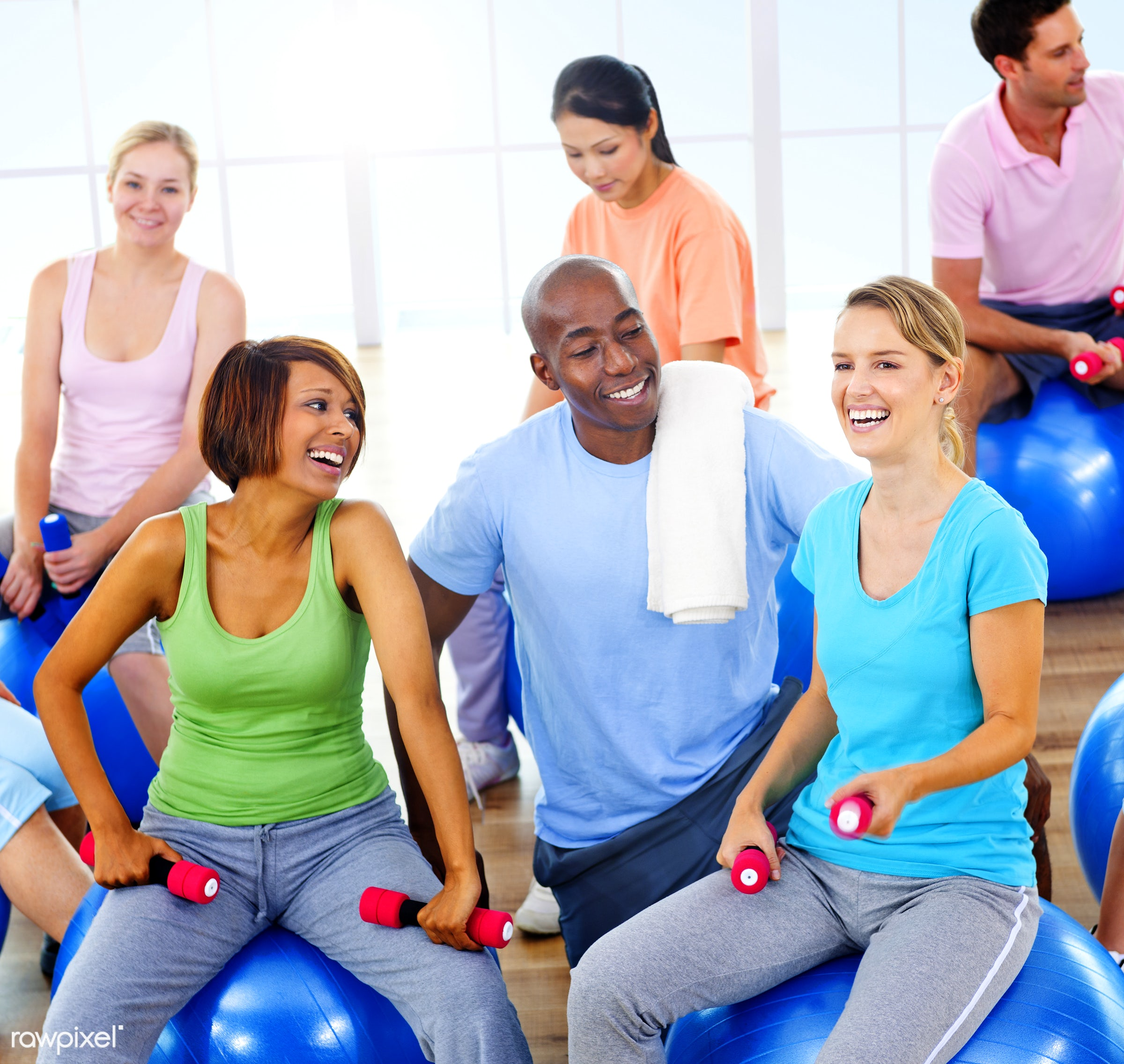 action, adult, african descent, asian ethnicity, body care, caucasian, cheerful, discussion, dumbbell, exercising,...