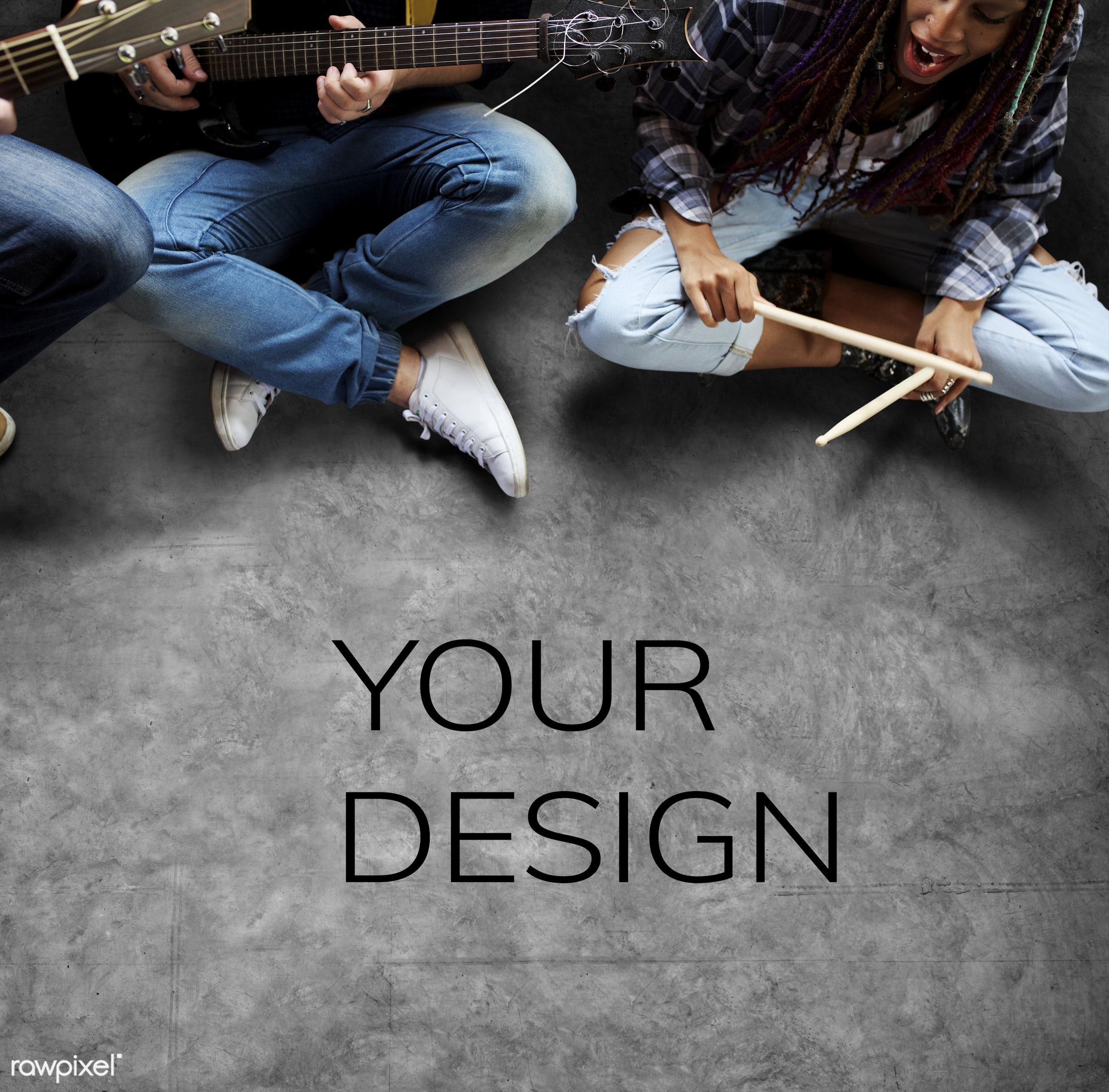 music, guitarist, adult, band, career, cheerful, copy space, diversity, drum sticks, drummer, enjoyment, floor, friends,...