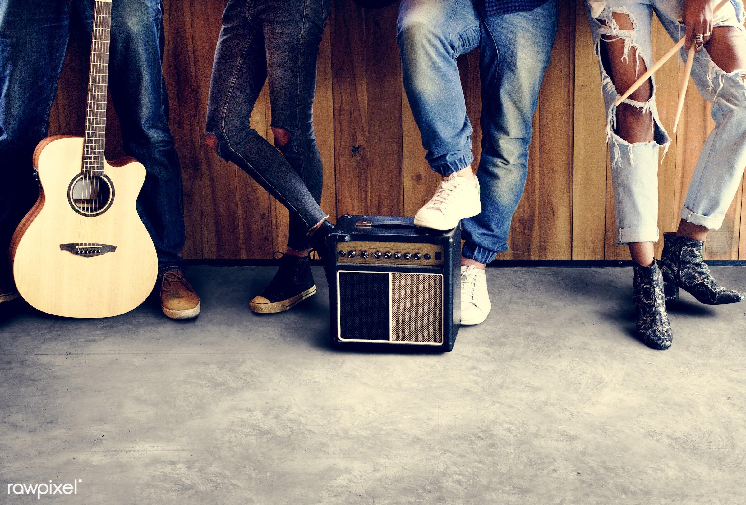 amp, amplifier, band, diversity, drum sticks, drummer, entertainment, female, friends, friendship, fun, guitar, guitarist,...