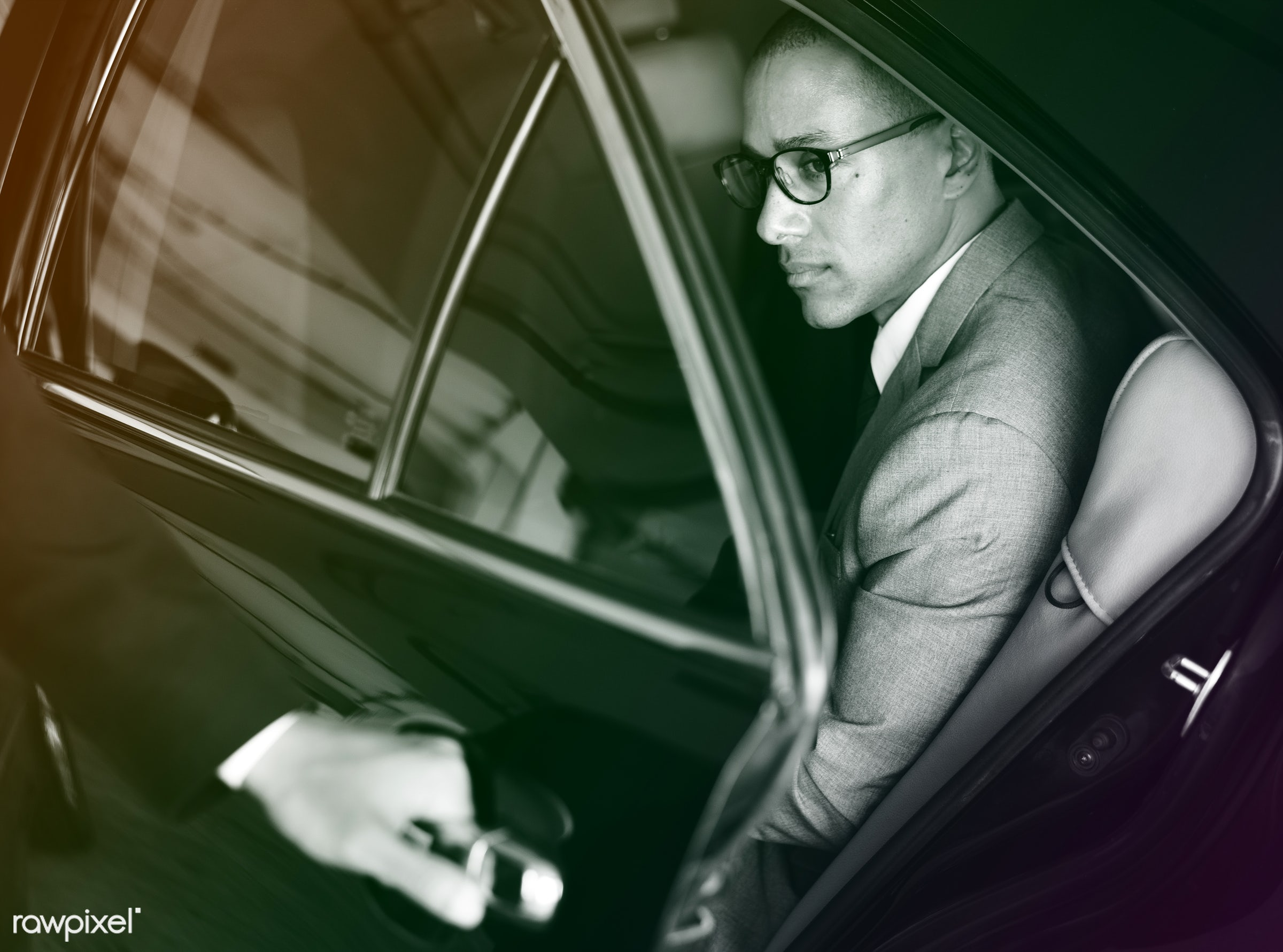 car, person, white collar worker, tie, vehicle, door, travel, transportation, business, open, businessman, style, transport...
