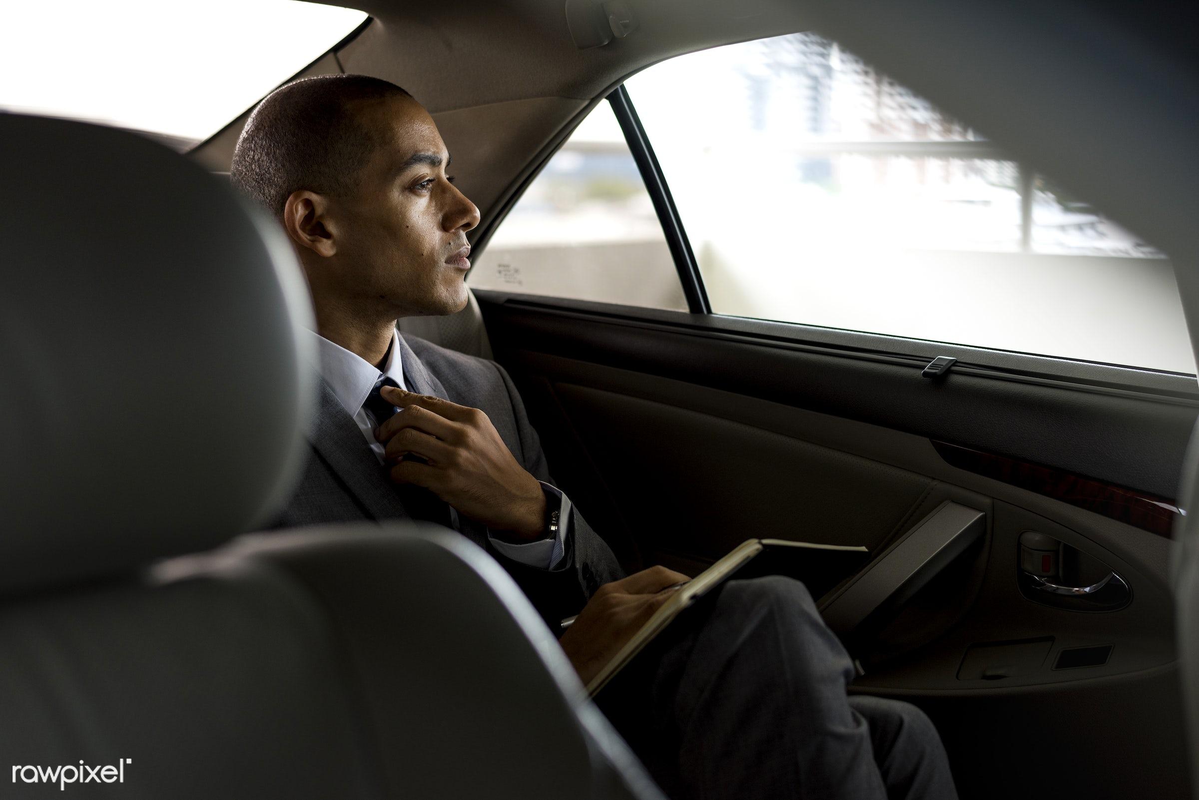 adult, back seat, business, businessman, businessmen, candid, car, corporate, device, digital device, employee, ethnicity,...