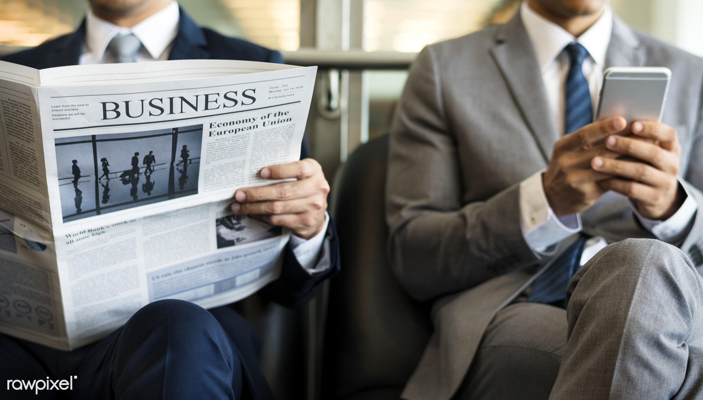 stock, technology, communication, news, reading, phone, newspaper, formal, adult, break, business, businessman, businessmen...