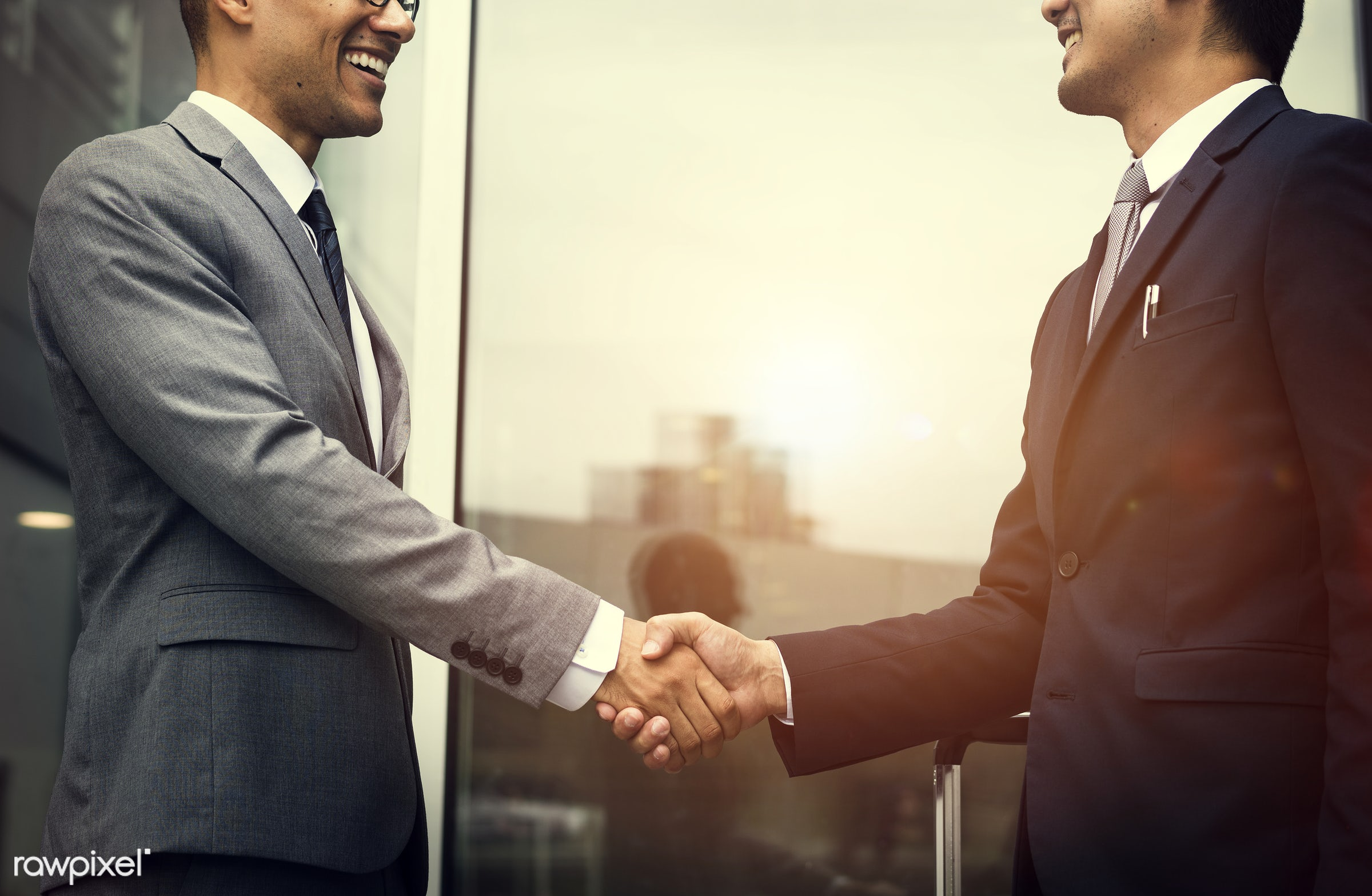 Corporate businessmen shaking hands - expression, person, manager, white collar worker, diverse, shake, corporation, people...