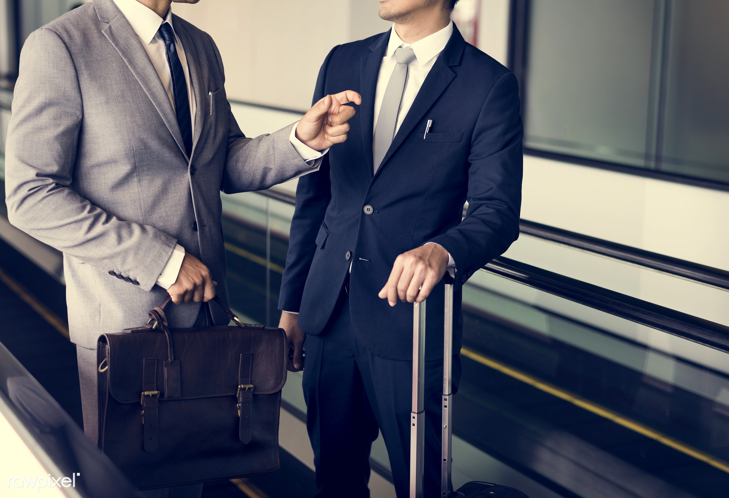 baggage, business trip, person, suit and tie, manager, white collar worker, diverse, luggage, travel, people, together,...