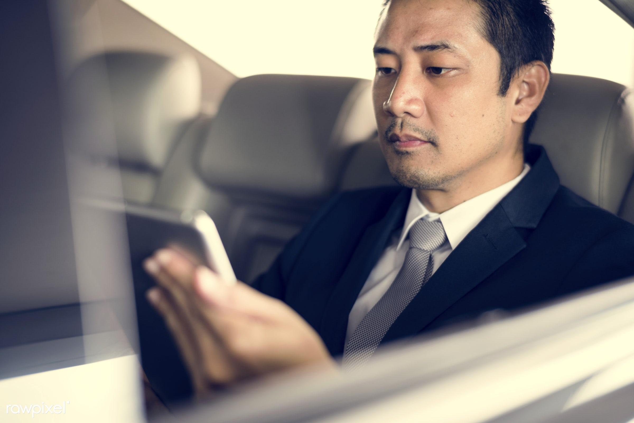 adult, back seat, business, businessman, businessmen, candid, car, cellphone, communication, corporate, device, digital...