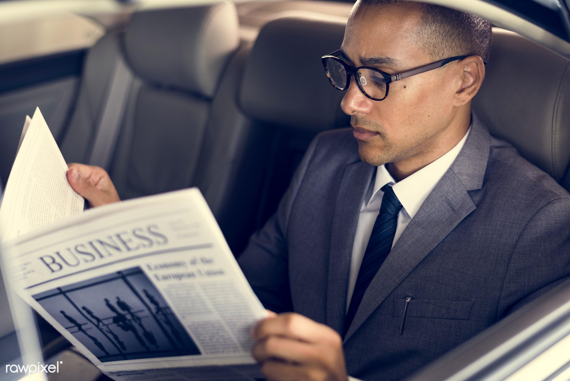 adult, back seat, break, breaking news, business, businessman, businessmen, candid, car, colleague, communication, corporate...