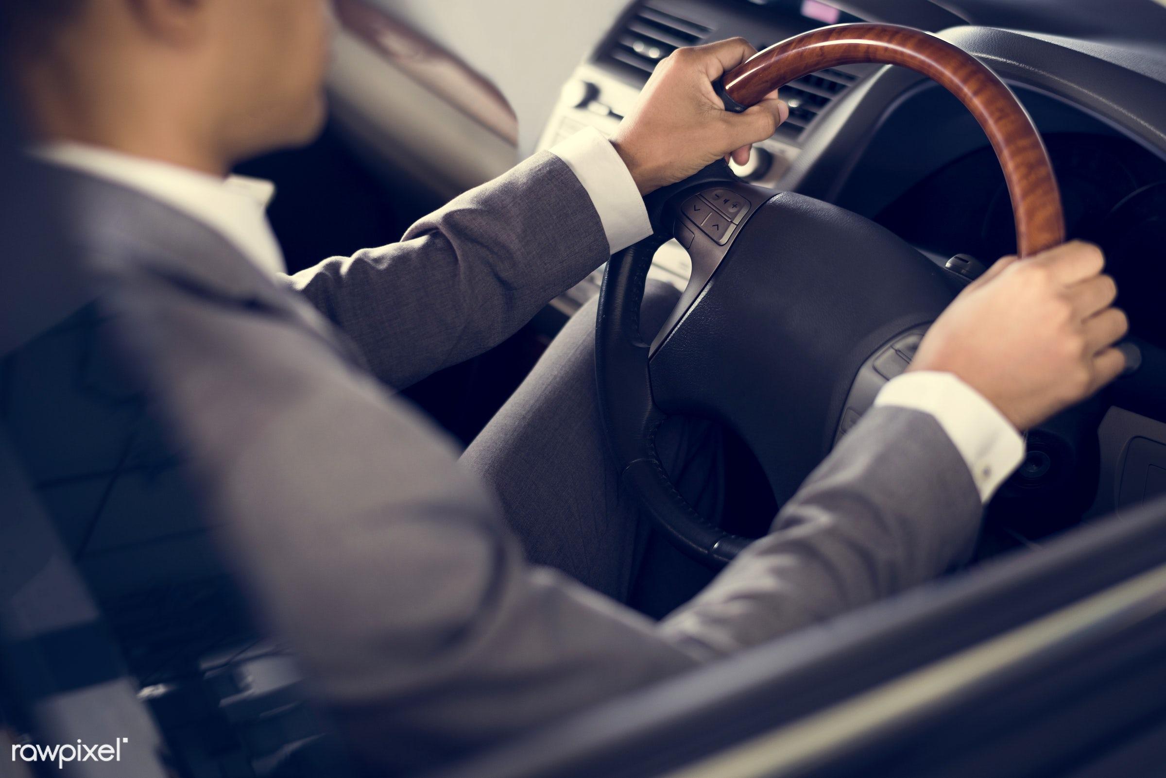car, person, suit and tie, wheel, automobile, vehicle, transportation, road test, people, caucasian, comfortable,...