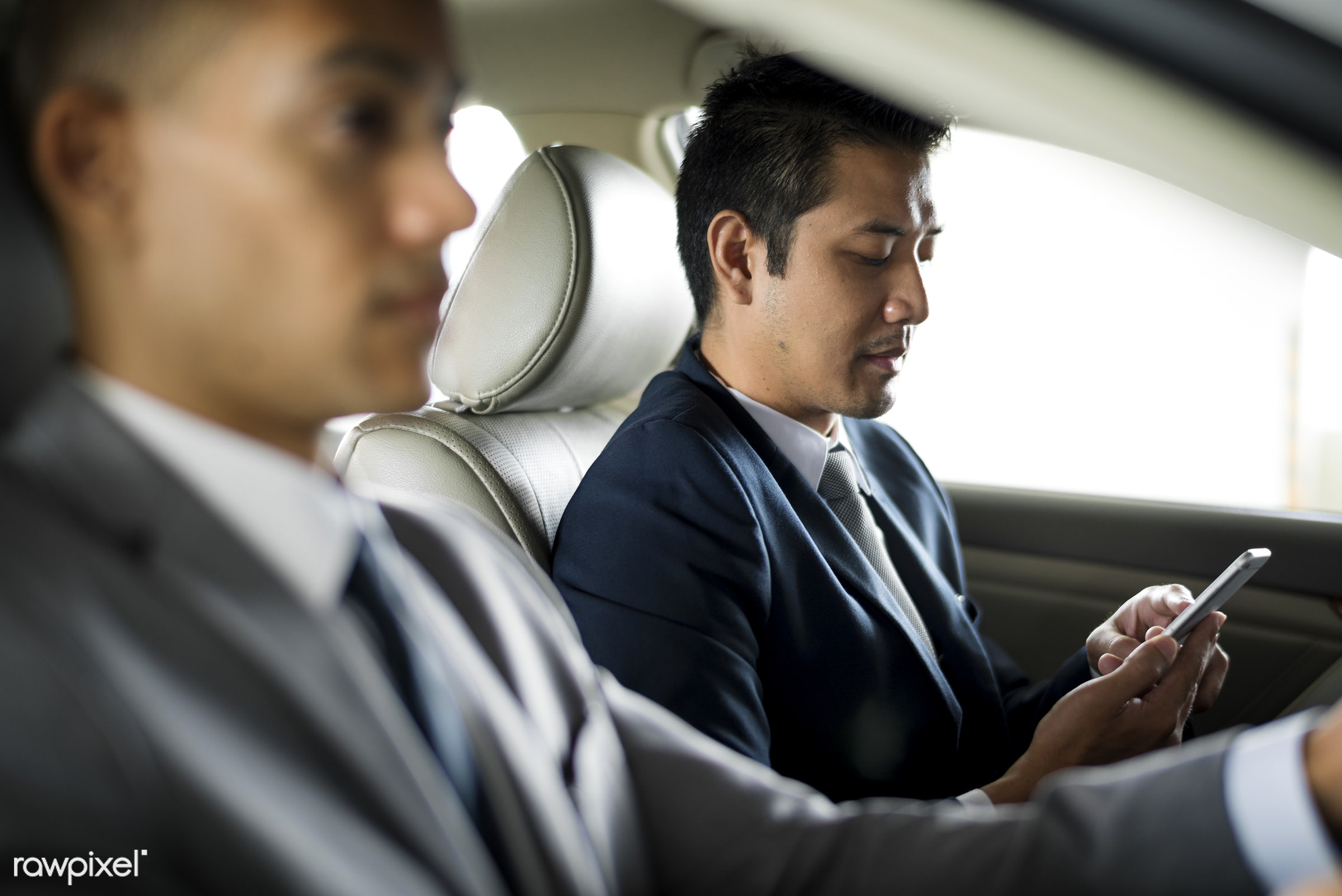 car, expression, face, person, suit and tie, white collar worker, tie, vehicle, use, travel, transportation, people,...