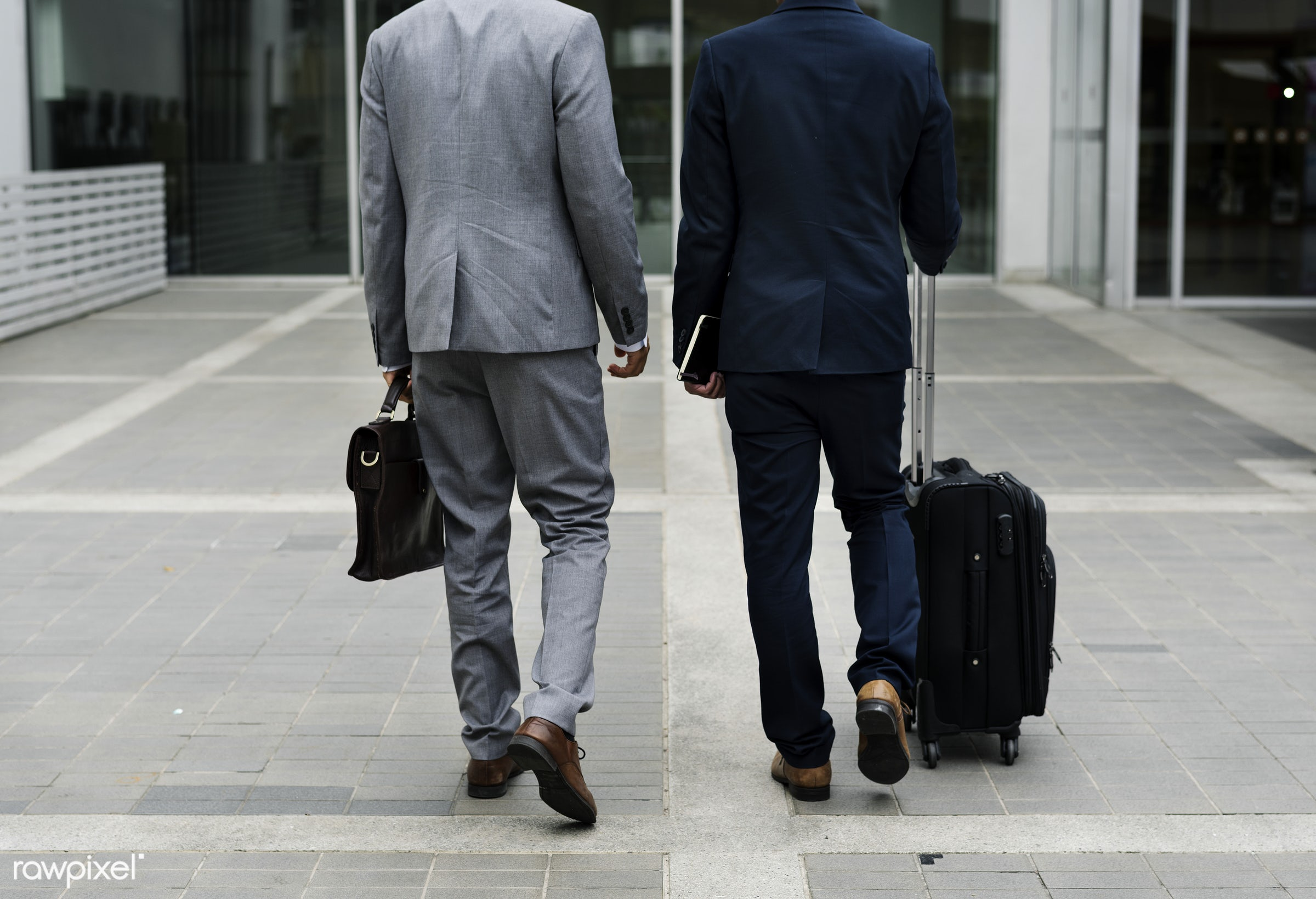 Business Men Walk Talk Luggage - business trip, expression, face, person, suit and tie, manager, white collar worker,...