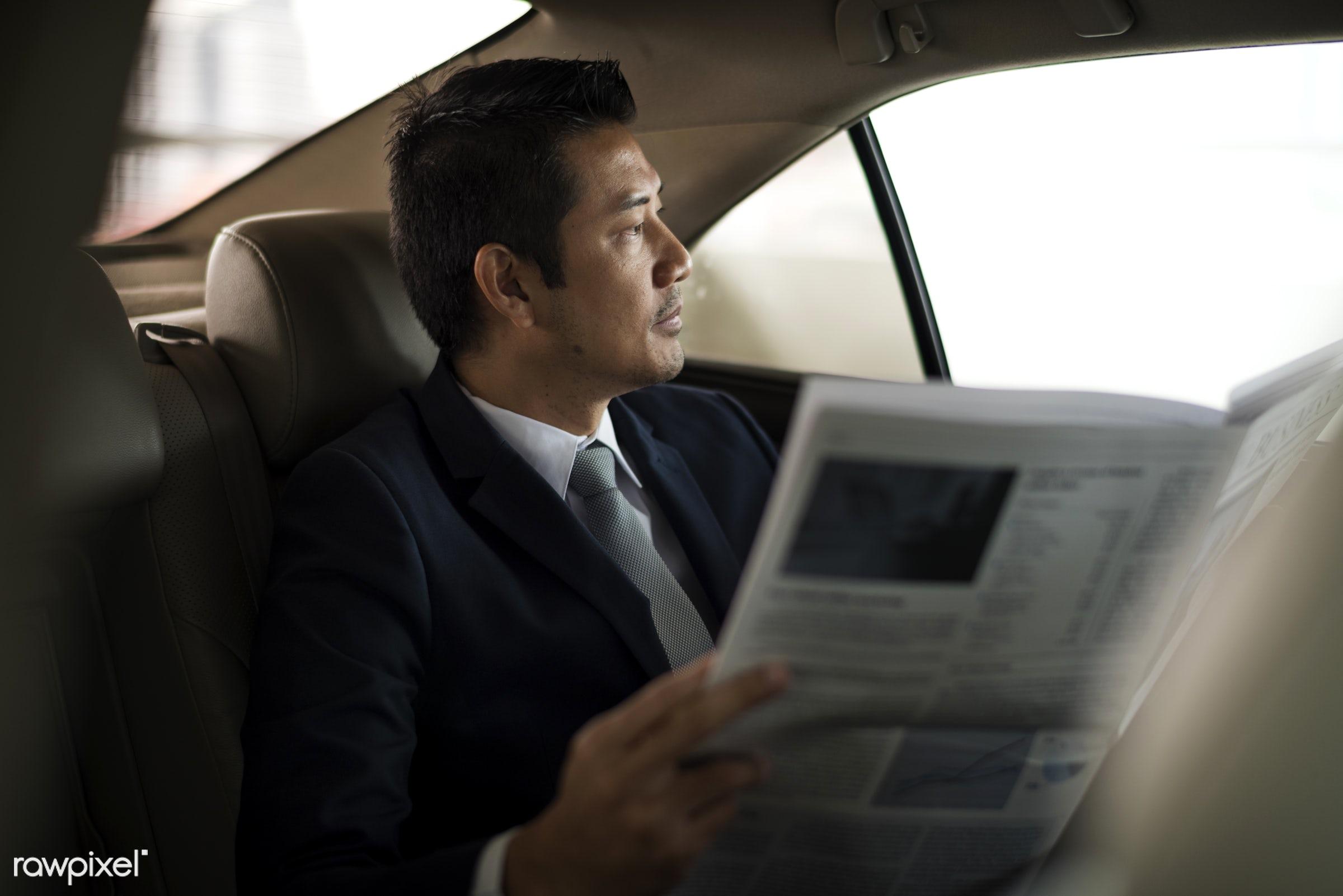 news, breaking news, newspaper, reading, adult, back seat, break, business, businessman, businessmen, candid, car,...