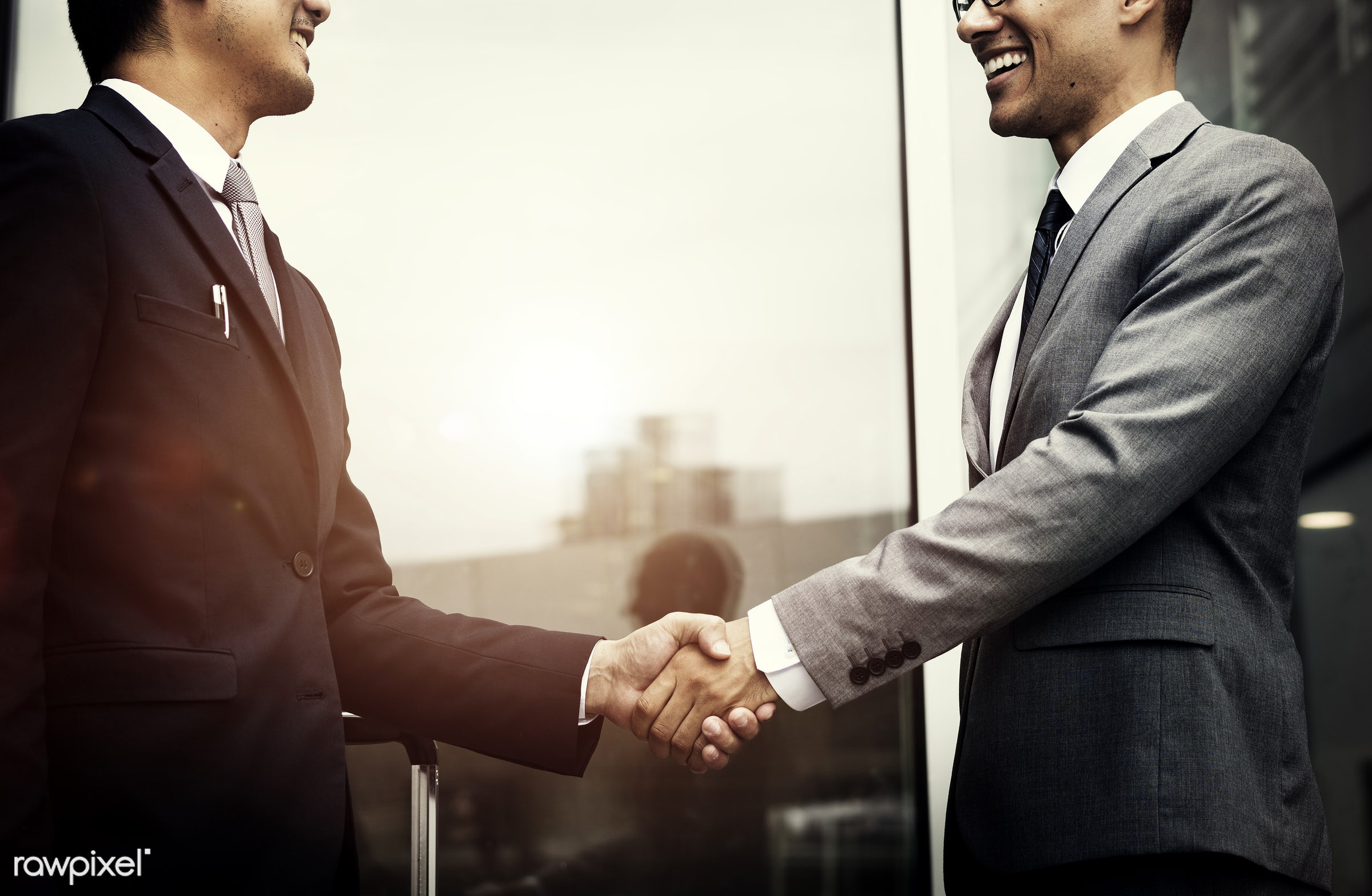 Corporate businessmen shaking hands - business, handshake, deal, career, work, corporate, businessman, manager,...