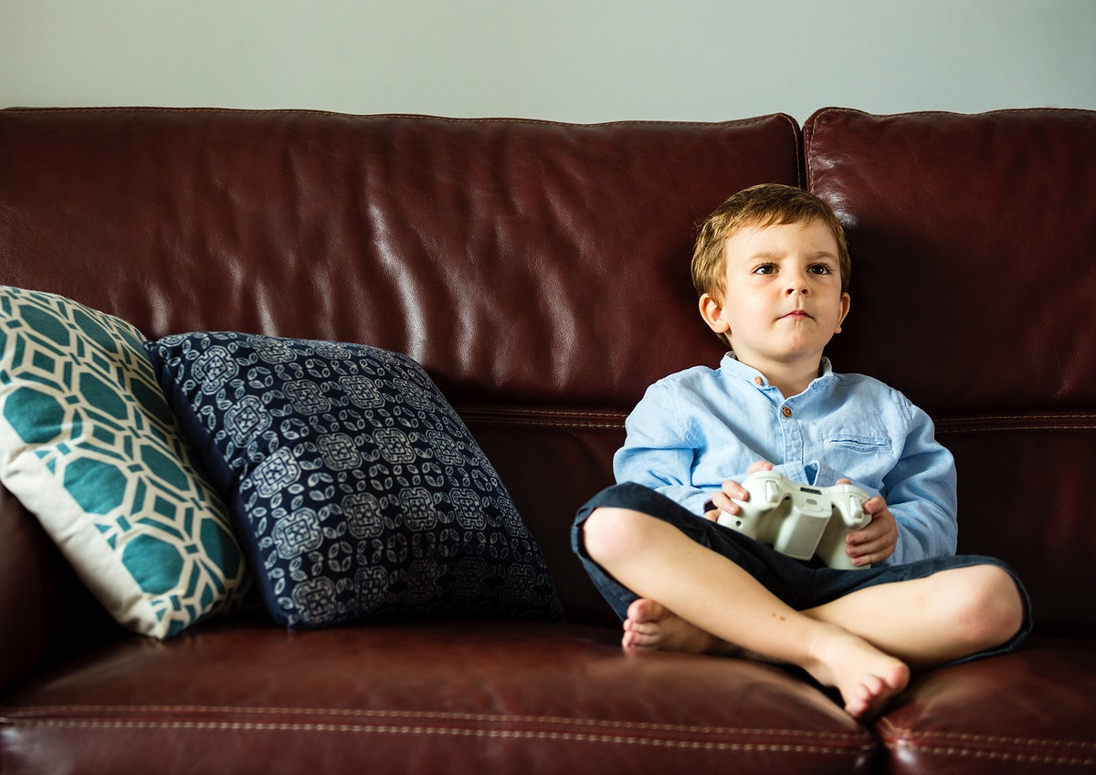 Boy playing video games in the sofa