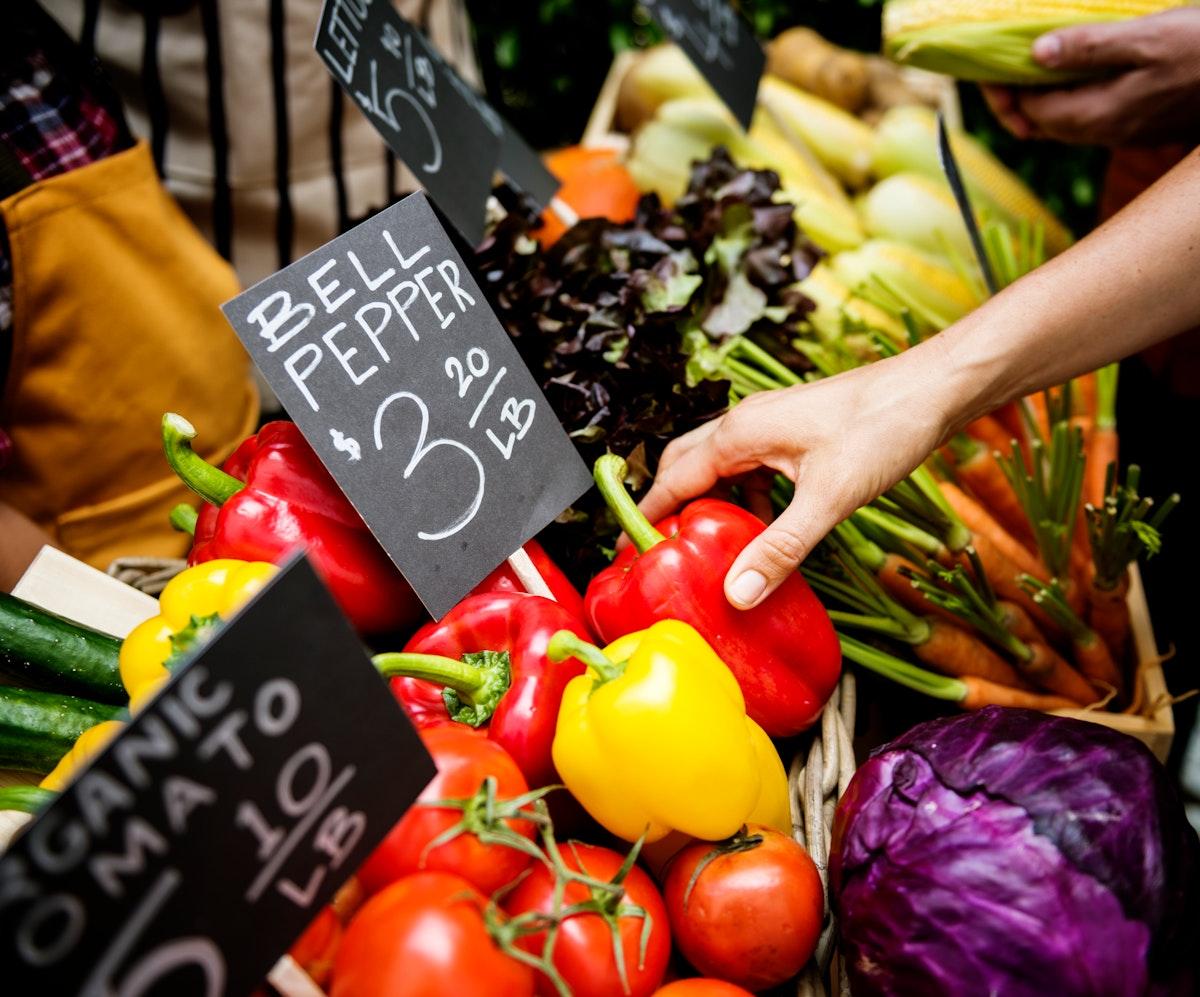 Fresh organic vegetables in the market