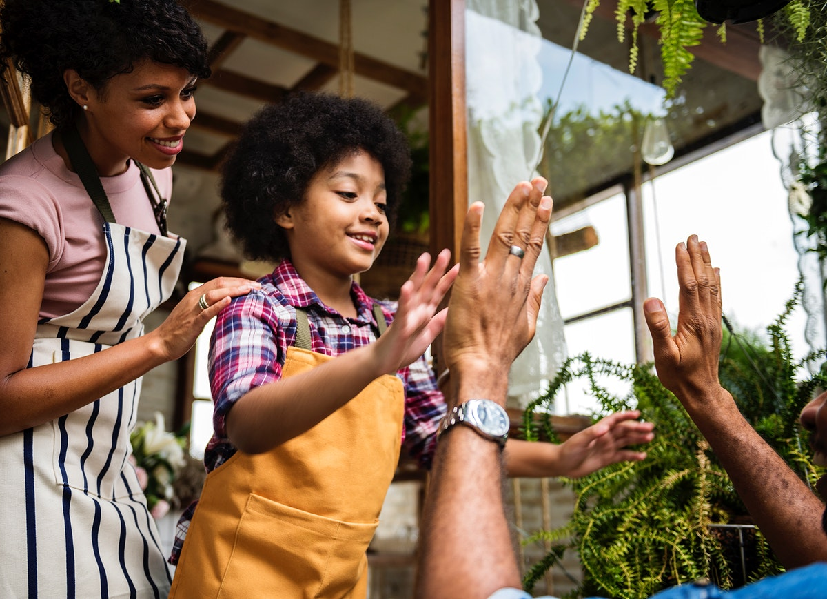 Family Hands Together Teamwork Shop Small Business