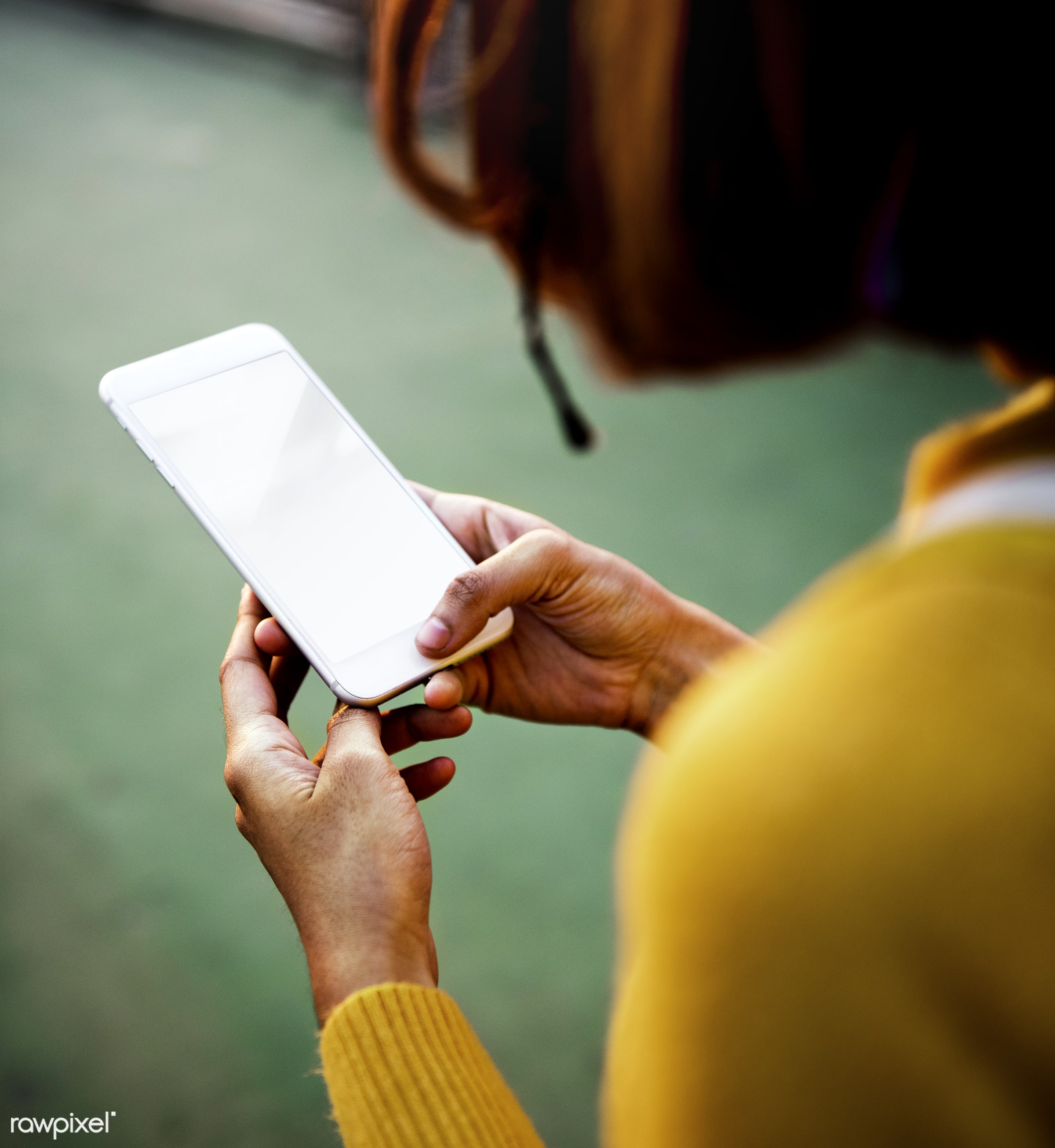 Woman using mobile phone with blank screen - girl, woman, mobile, phone, wireless, smartphone, blank, empty, screen, copy...