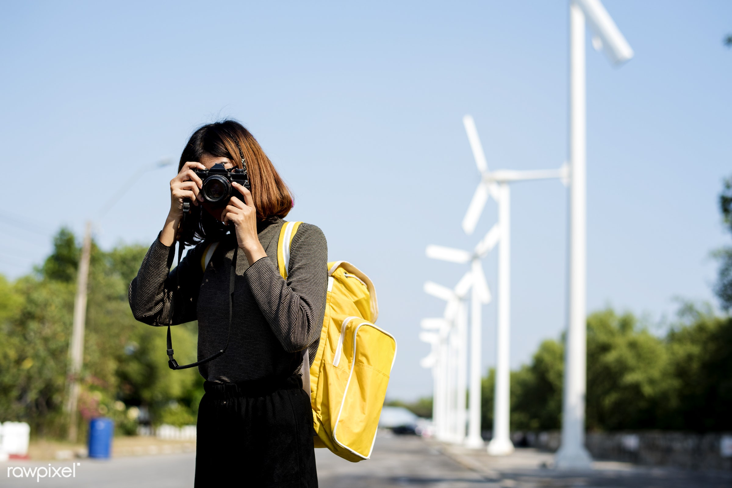 girl, woman, photo, camera, picture, windmill, field, alone, outdoors, photography, photographer, hobby, person