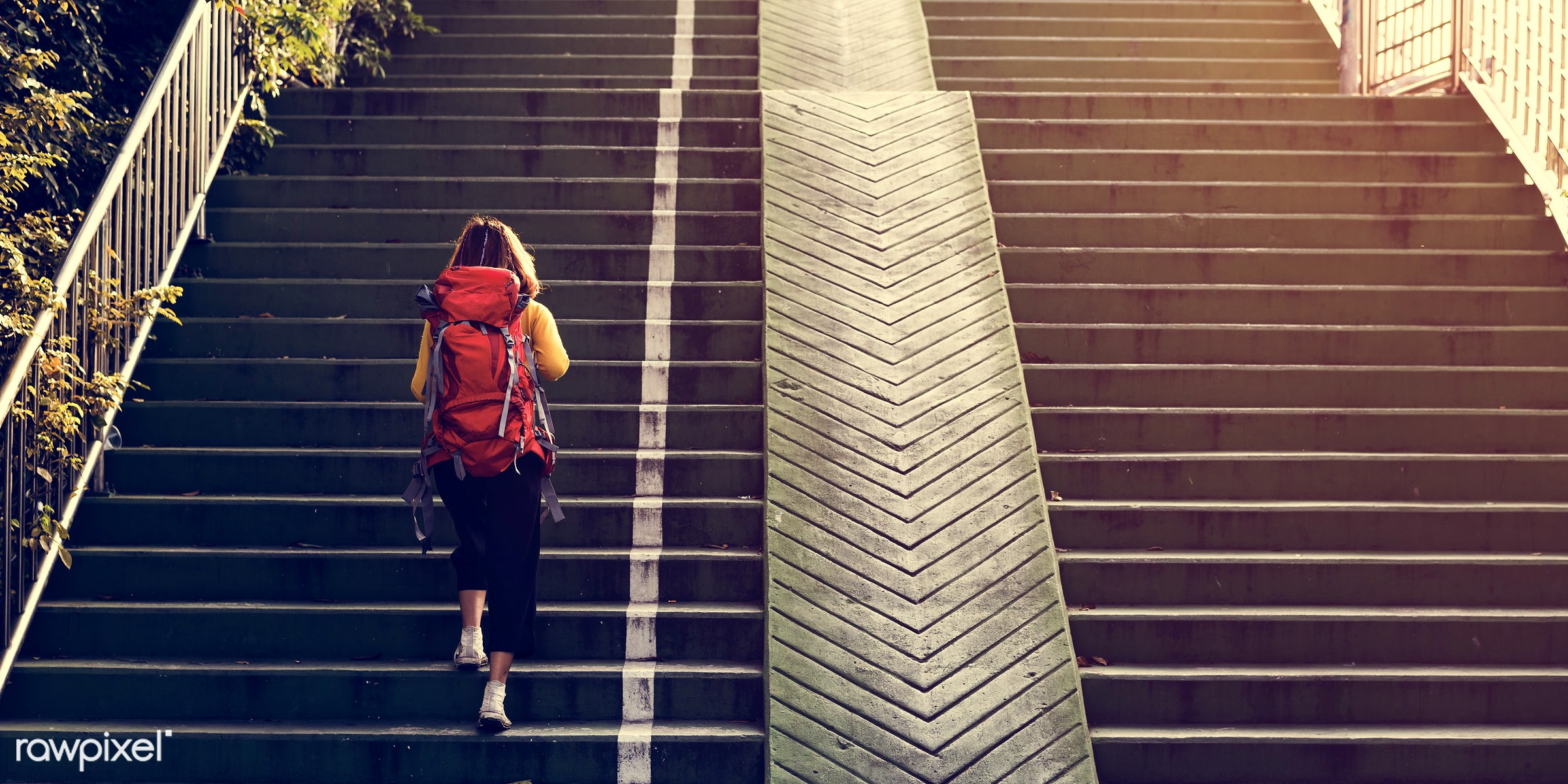 girl, woman, travel, wanderlust, backpack, walking, stairs, staircase, alone, solo, outdoors, up, person