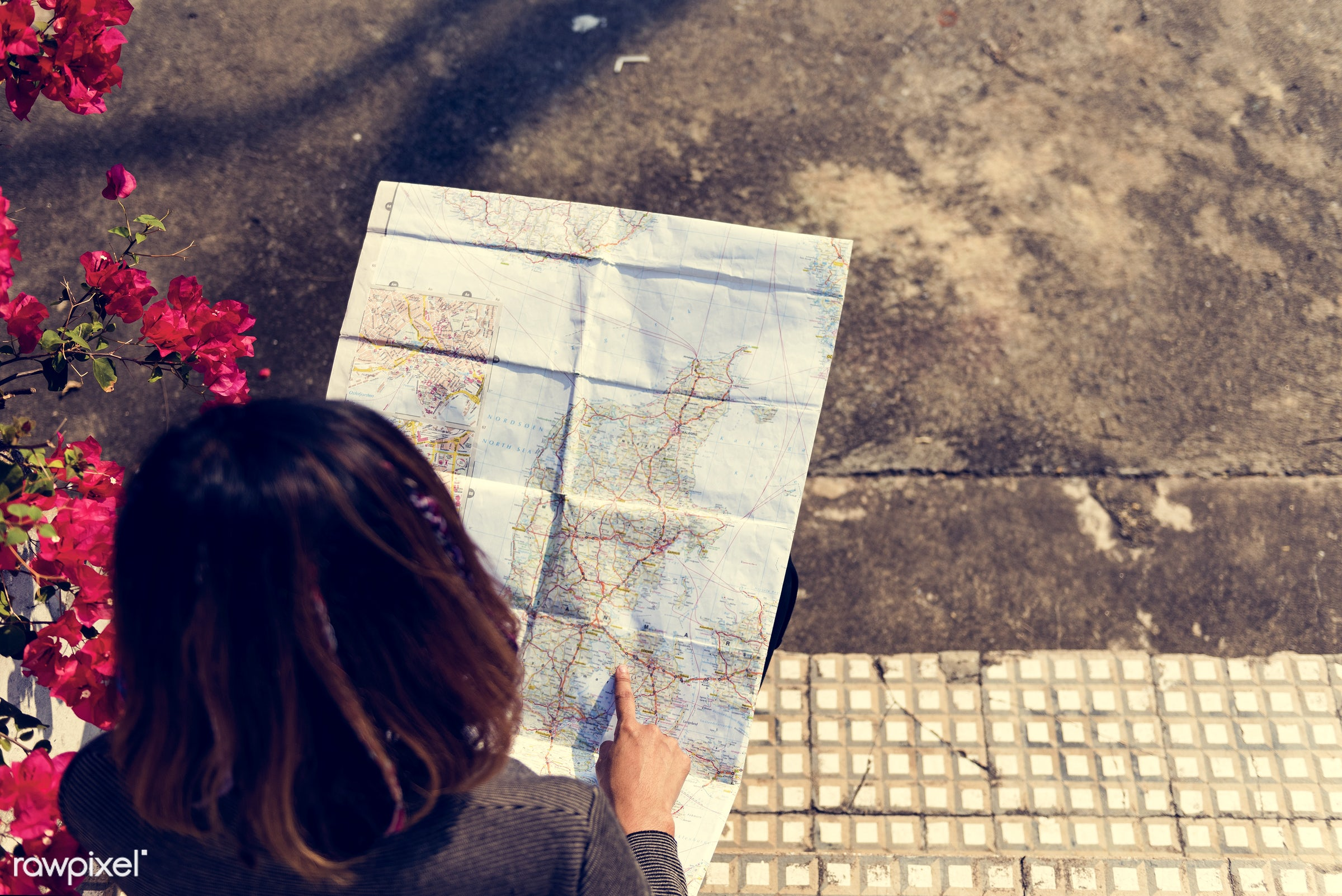 woman, girl, travel, trip, navigation, map, guide, direction, aerial view, alone