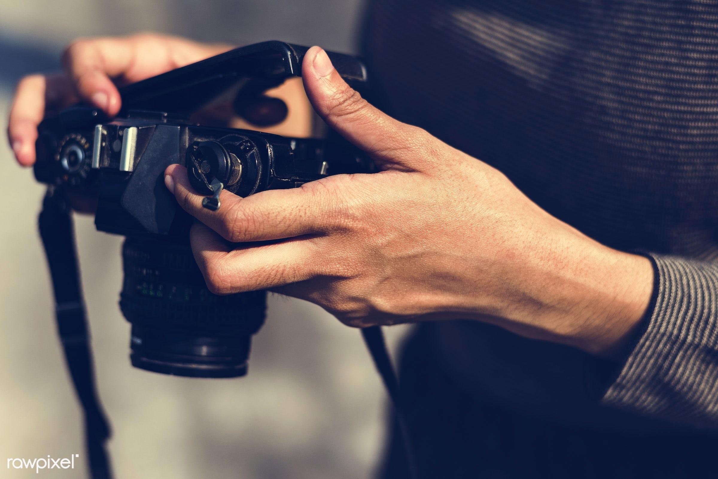 camera, photography, photographer, hands, closeup, film, checking, opening, hobby, equipment