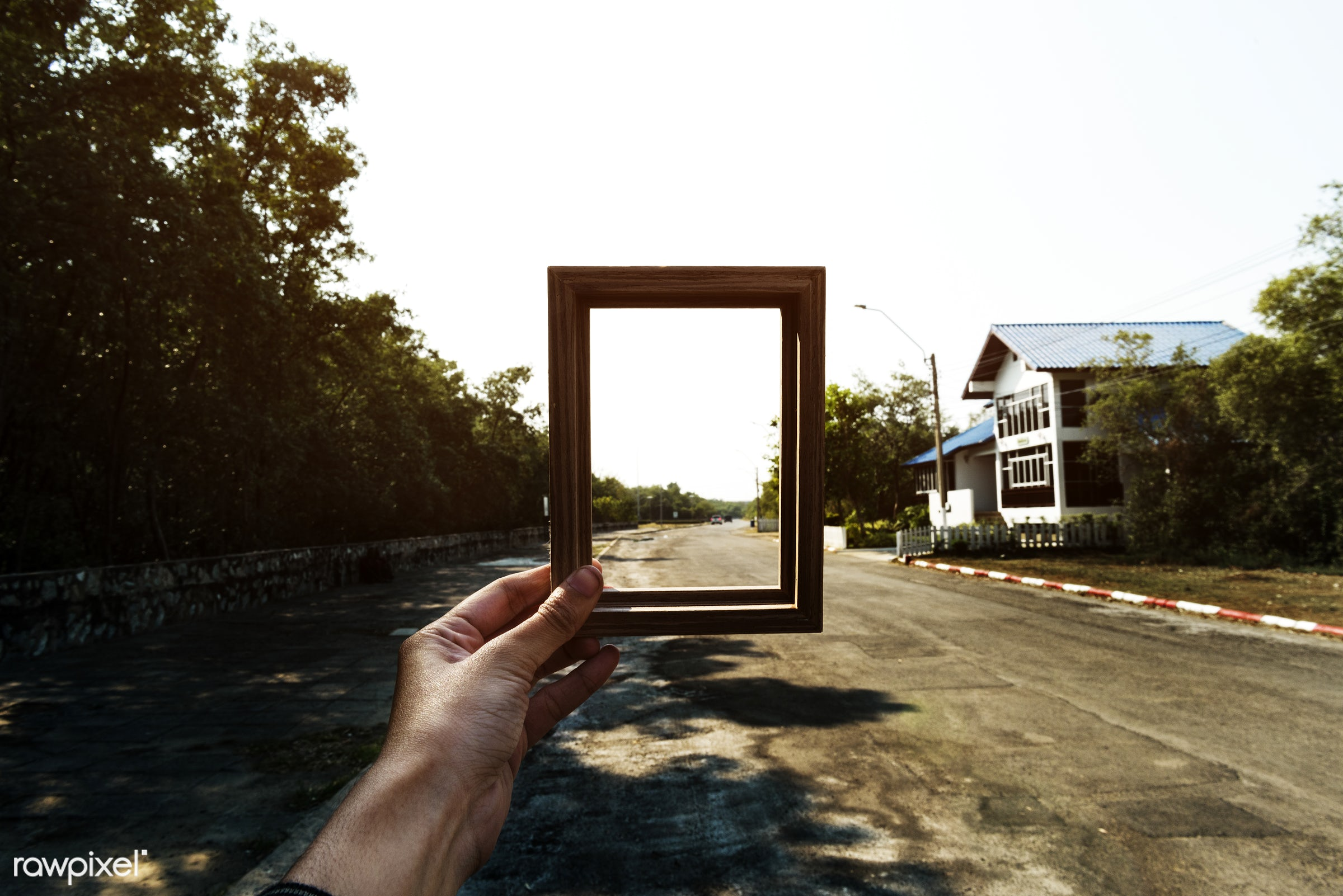 hand, holding, frame, empty, border, square, rectangle, shape, road, street, suburbs, outdoors