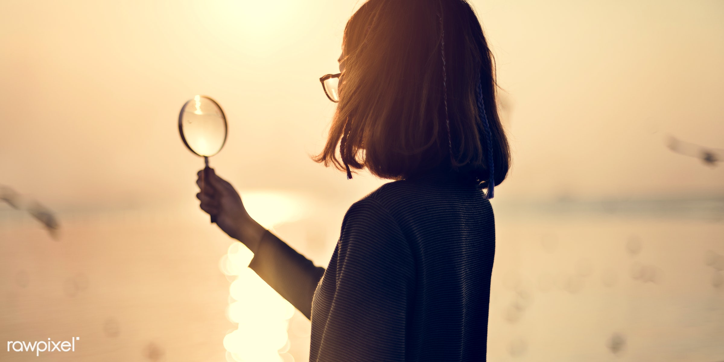 girl, woman, holding, magnifying, glass, silhouette, sunset, nature, sky, ocean, sea, water, studying, looking, person