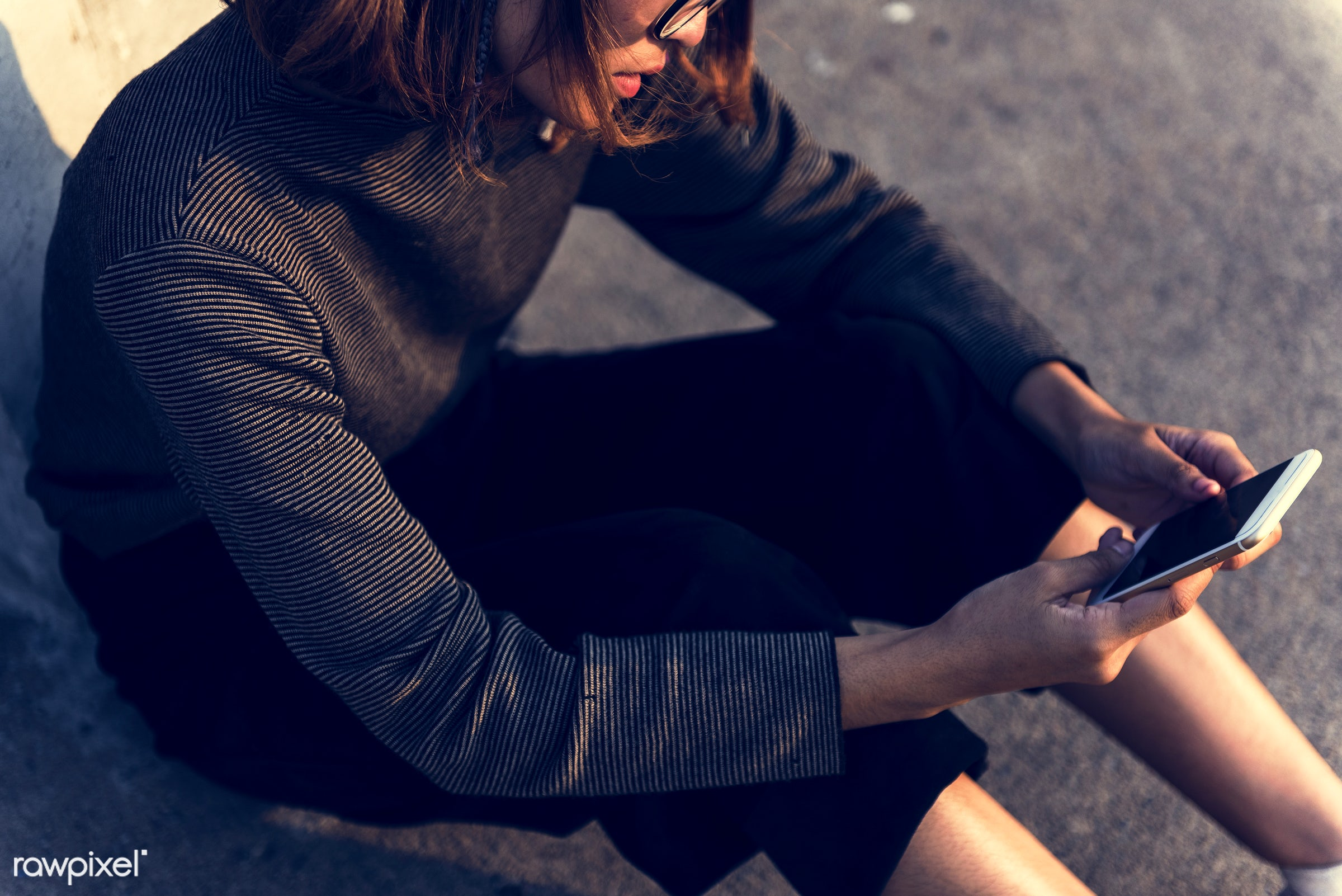 girl, woman, mobile, phone, smartphone, alone, outside, city, urban, asian, sitting, ground, relaxation, leisure, recreation...