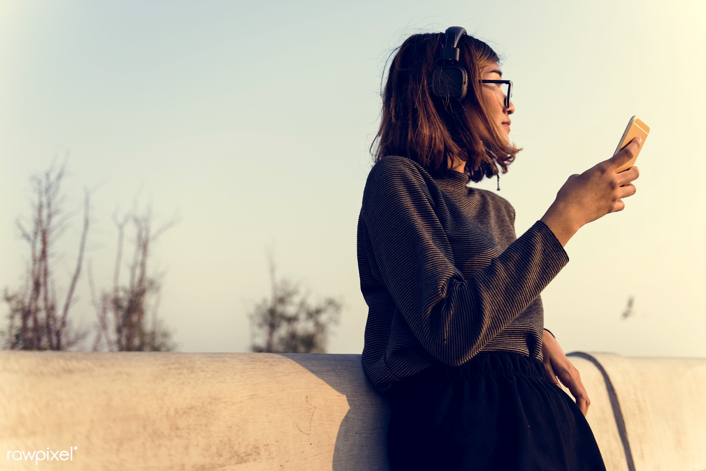asian, woman, girl, mobile, phone, smartphone, communication, outdoors, alone, solitude, leisure, recreation, music,...