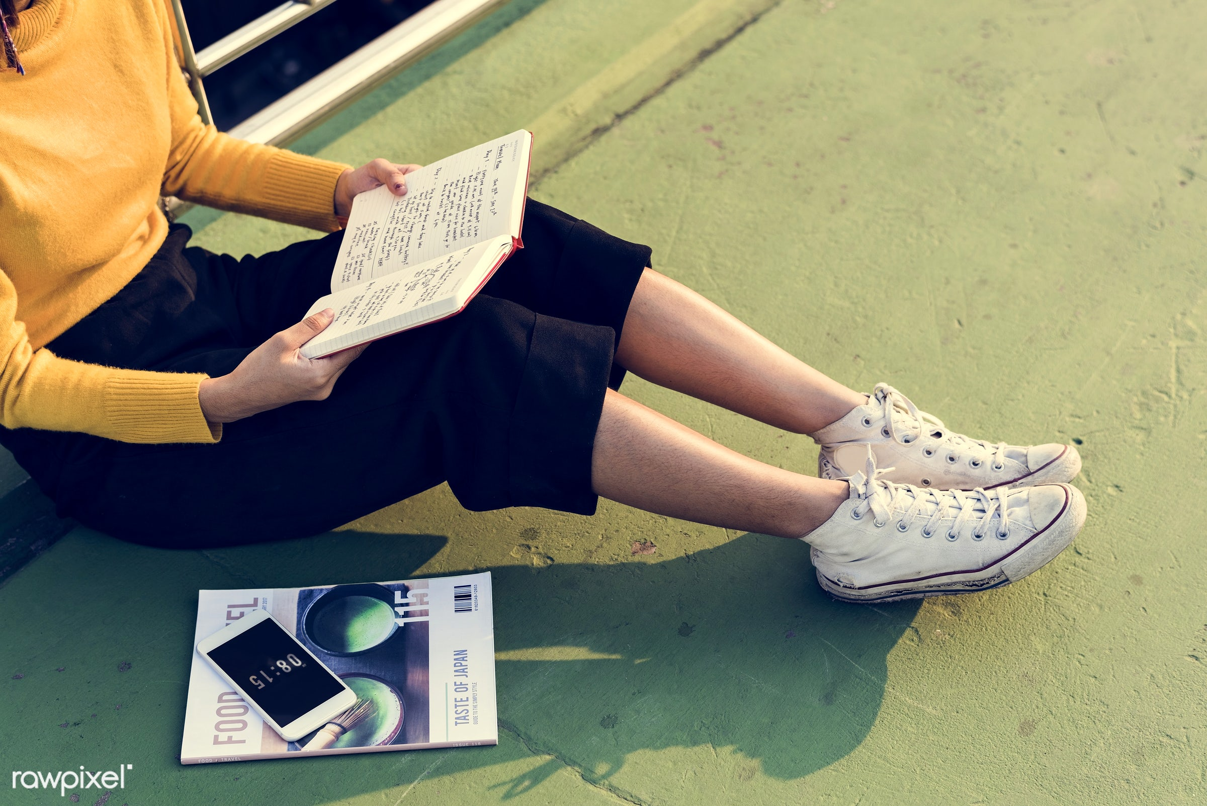 solo, woman, alone, magazine, reading, notebook, sitting, ground, leisure, hobby, outdoors, recreation, relaxation
