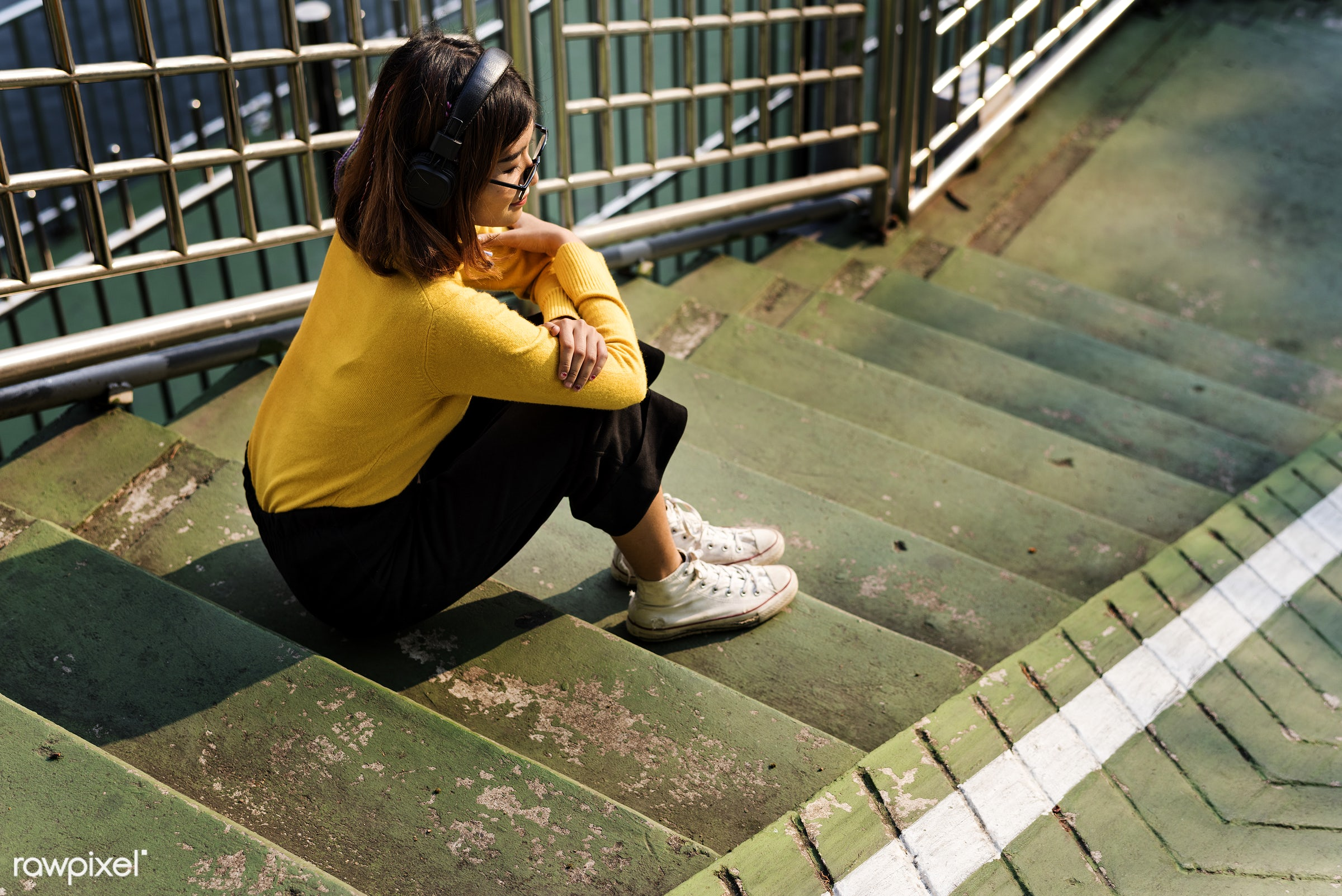 asian, woman, girl, communication, outdoors, alone, solitude, leisure, recreation, music, listening, person, steps, stairs,...