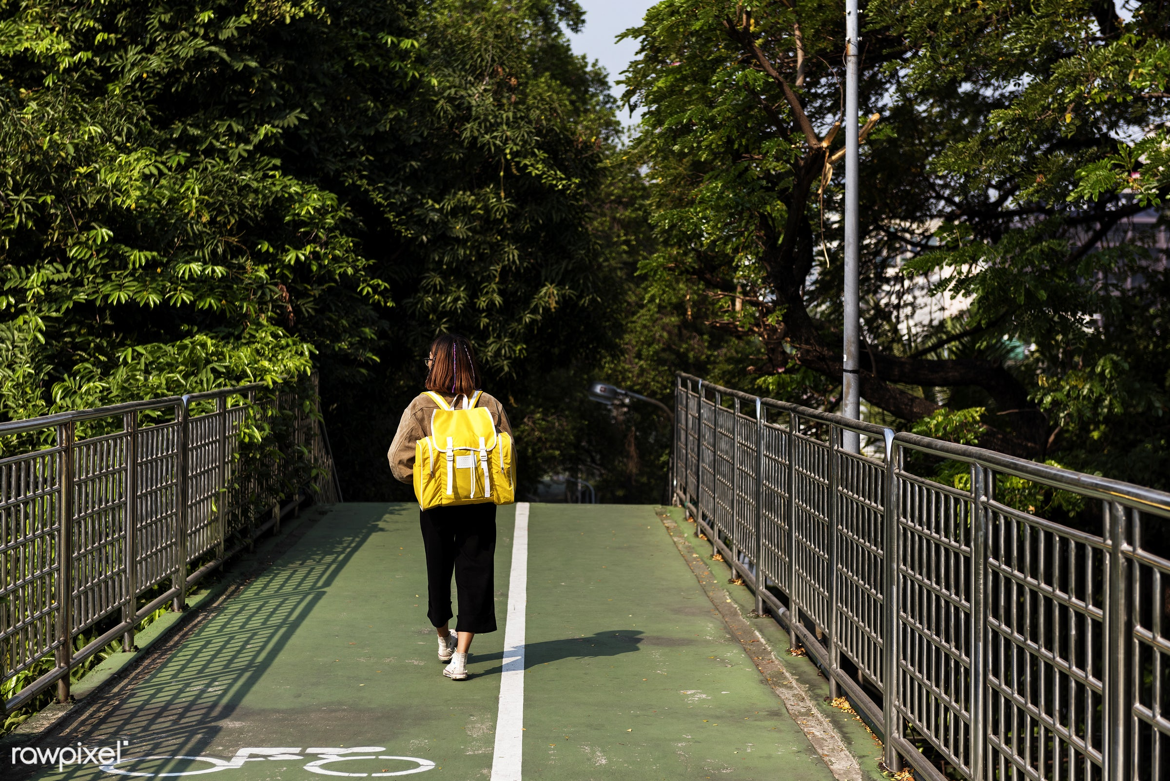 girl, woman, alone, outside, asian, park, bridge, path, trees, nature, backpack, bag, travel, trip, journey, person