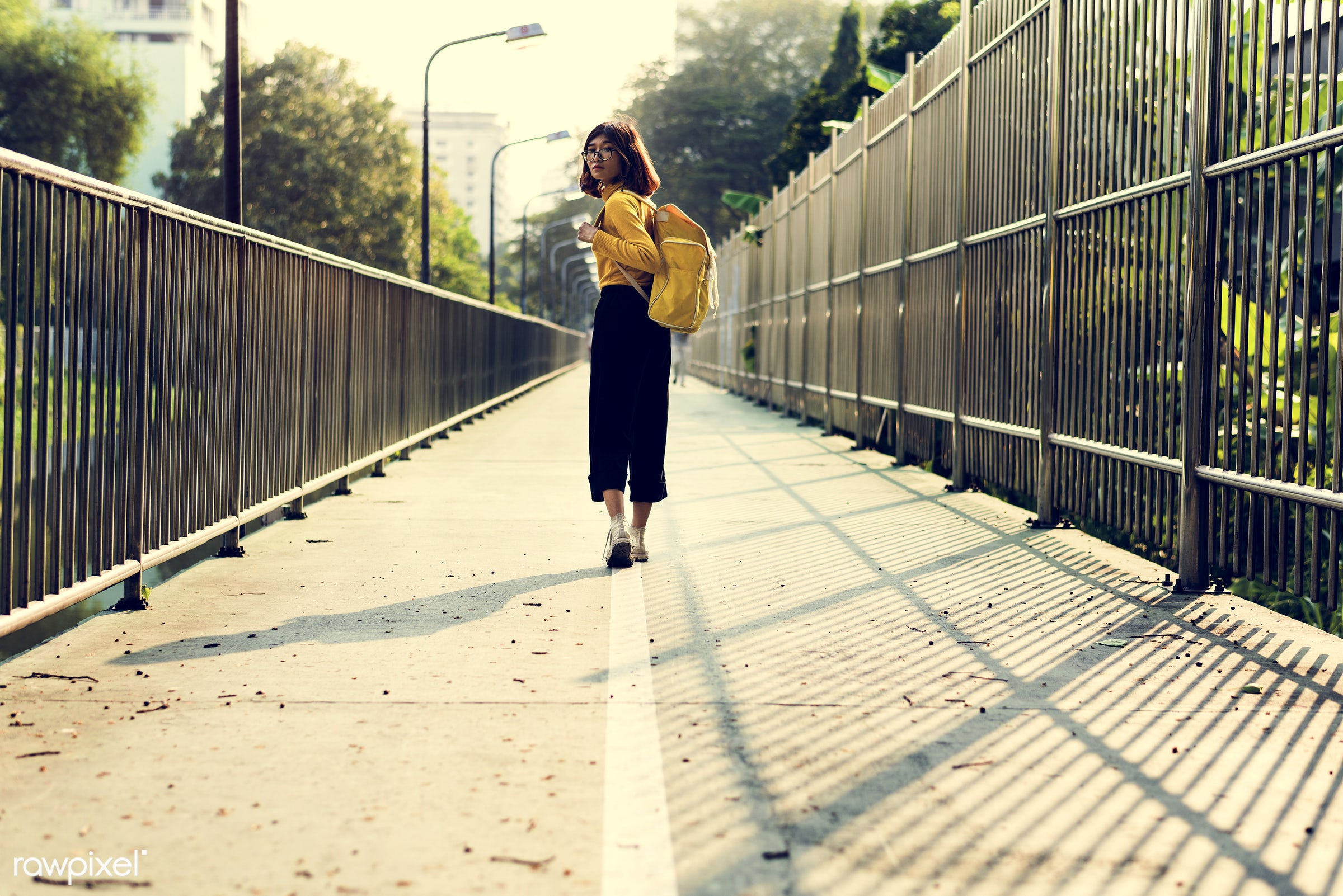 woman, girl, travel, trip, backpack, alone, solo, city, journey, bag, asian, walking, rear view, person