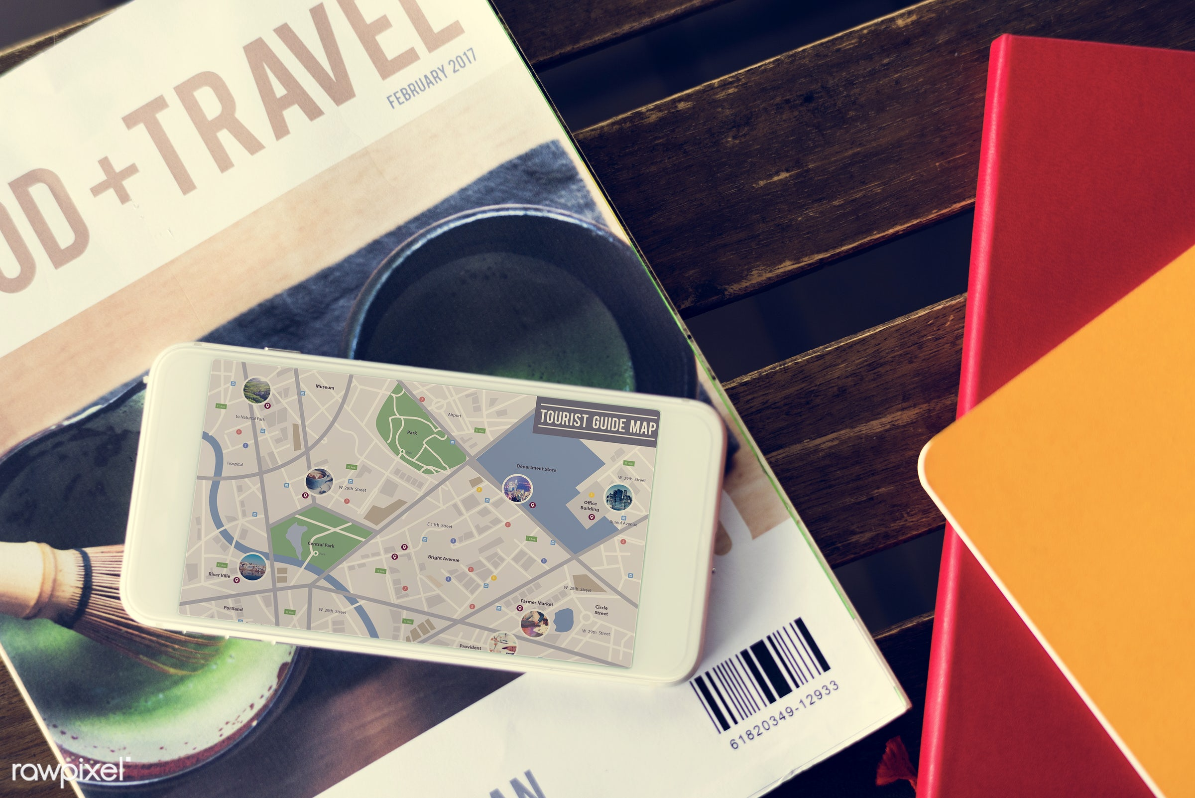 map, magazine, location, navigation, smartphone, mobile, phone, wireless, device, digital, desk, closeup, guide