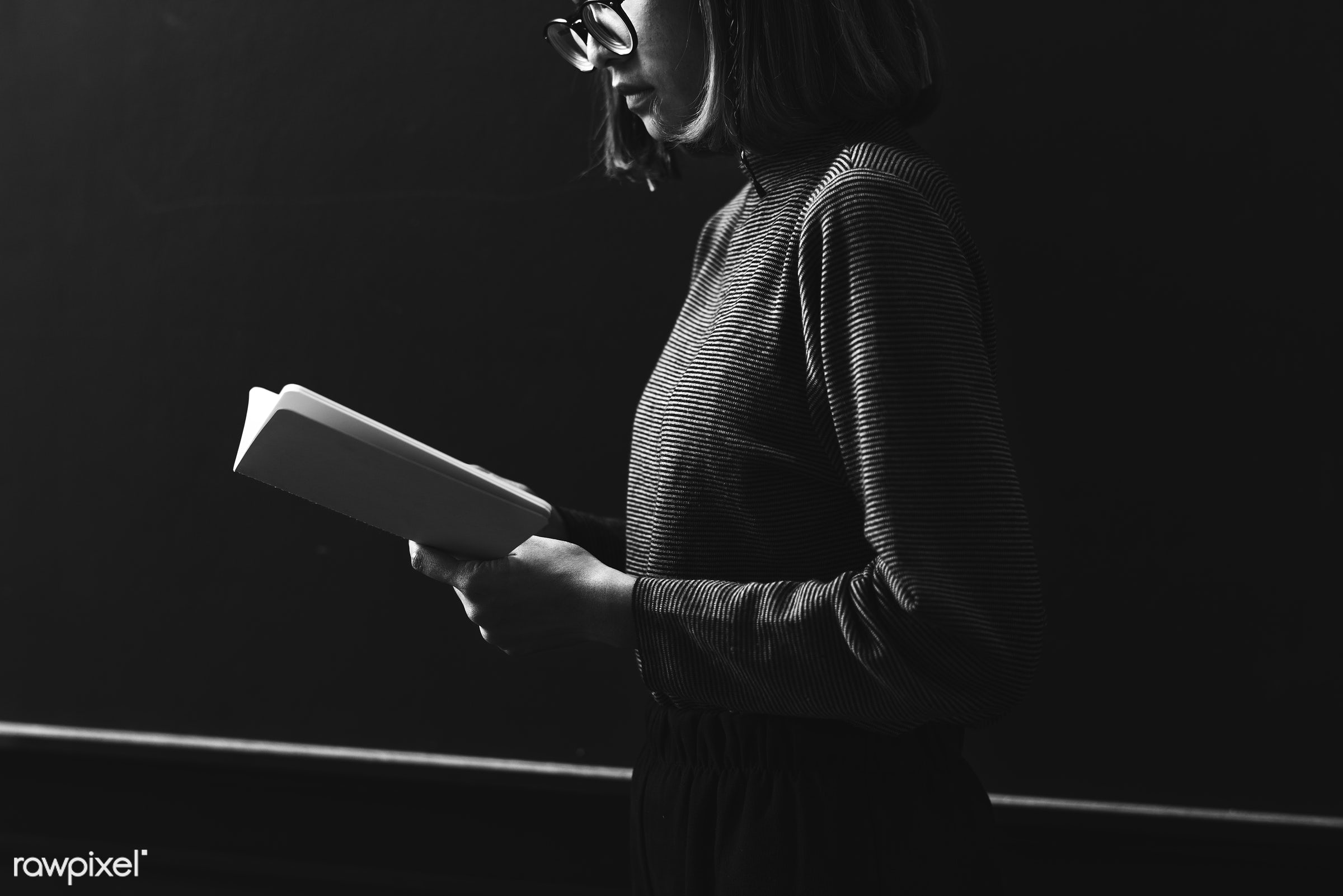 Grayscale girl reading a book - woman, girl, grayscale, reading, book, alone, dark, glasses, solitude, hobbies