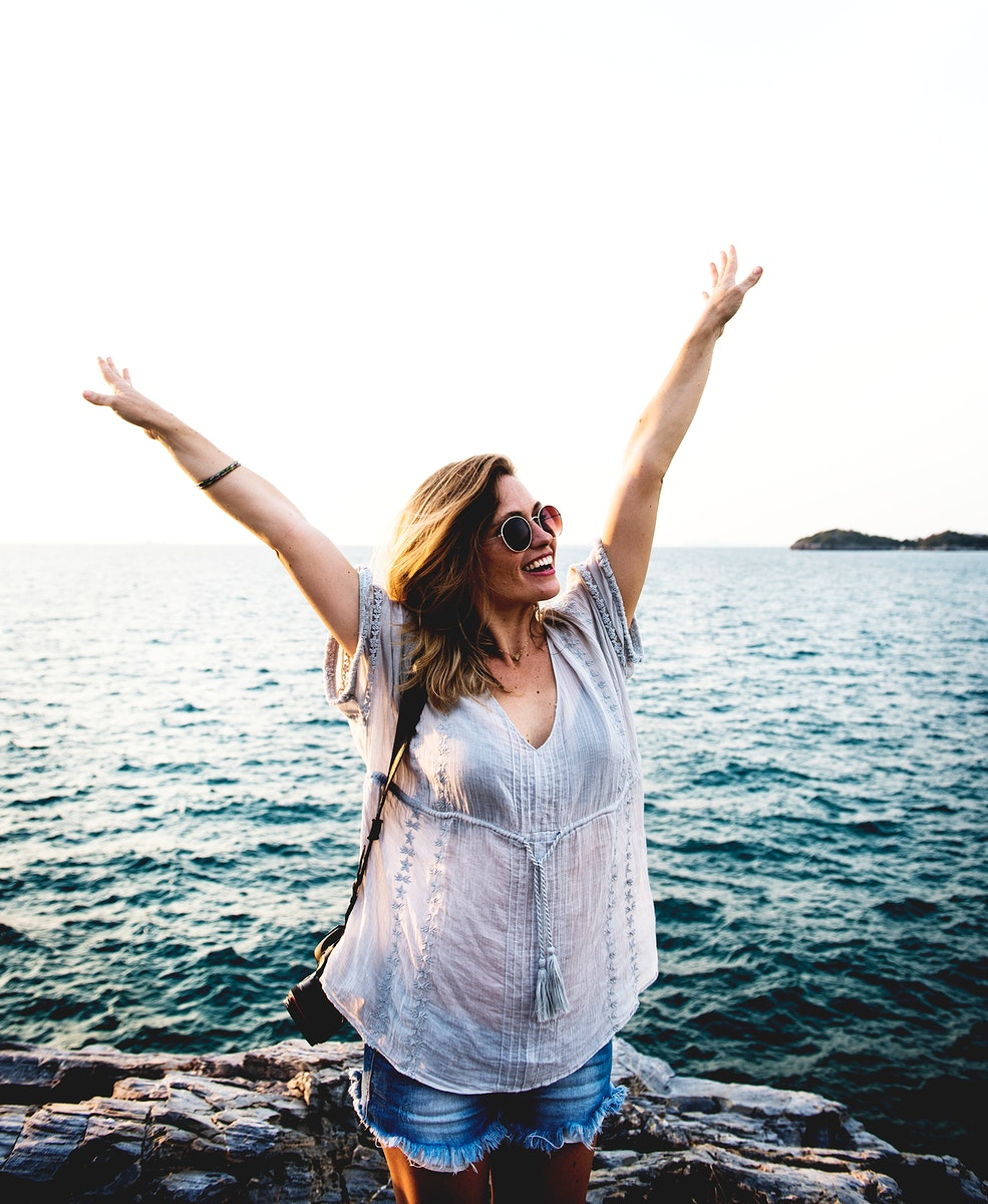 Young Woman Traveler Cheerful Concept